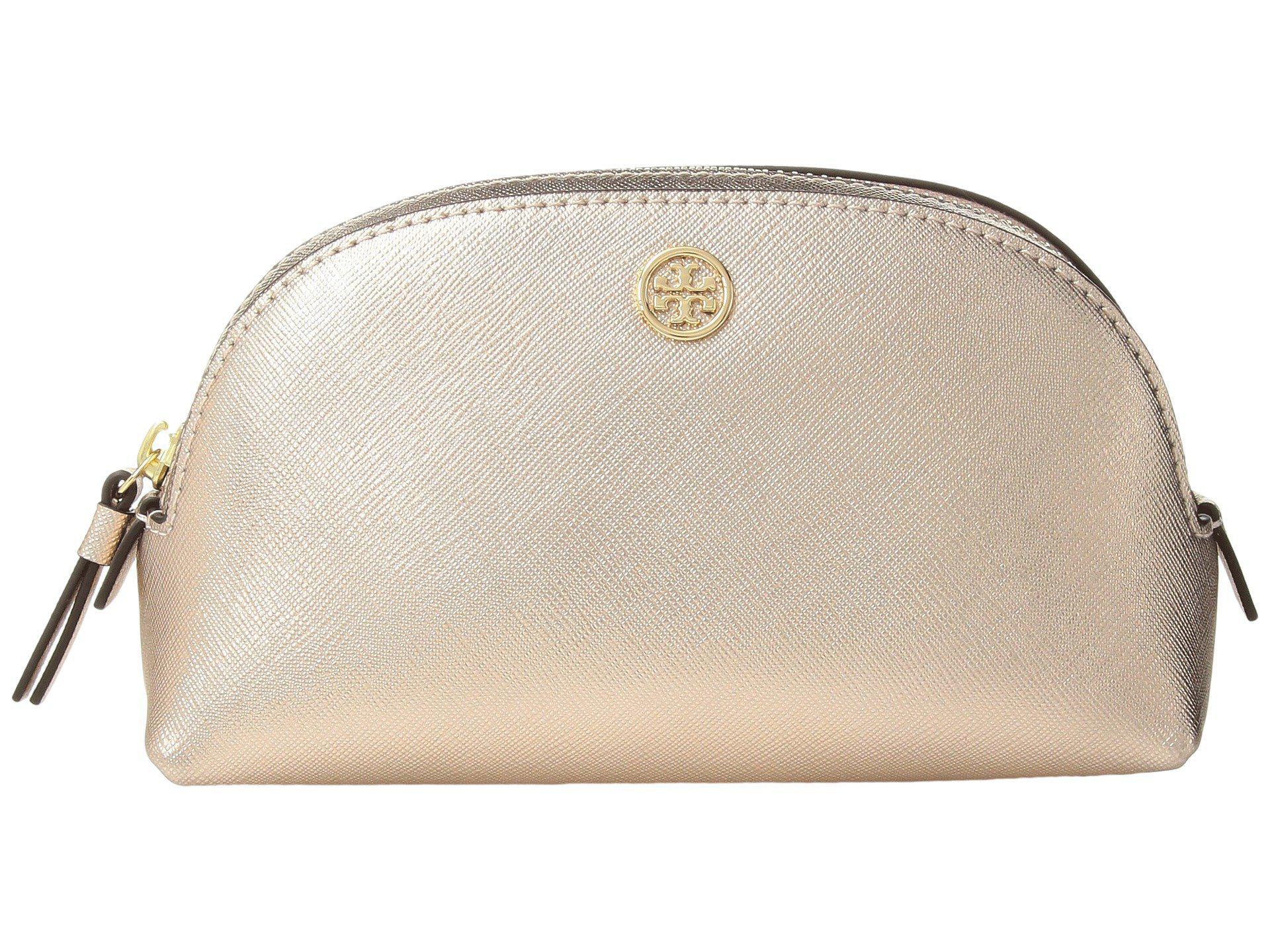 6277bd8f361f Lyst - Tory Burch Robinson Metallic Small Makeup Bag (light Rose ...