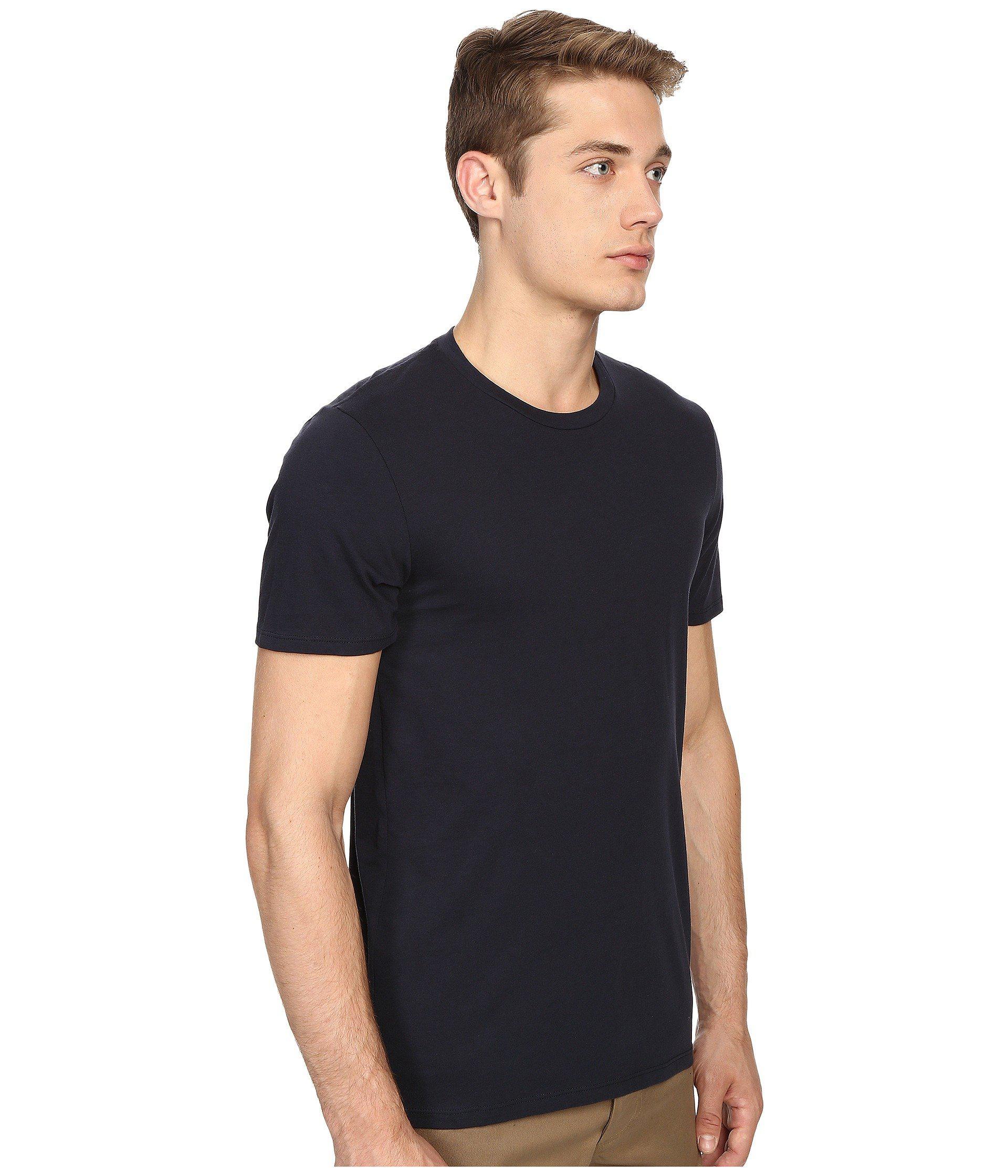 Vince Short Sleeve Pima Cotton Crew Neck Shirt Black Men