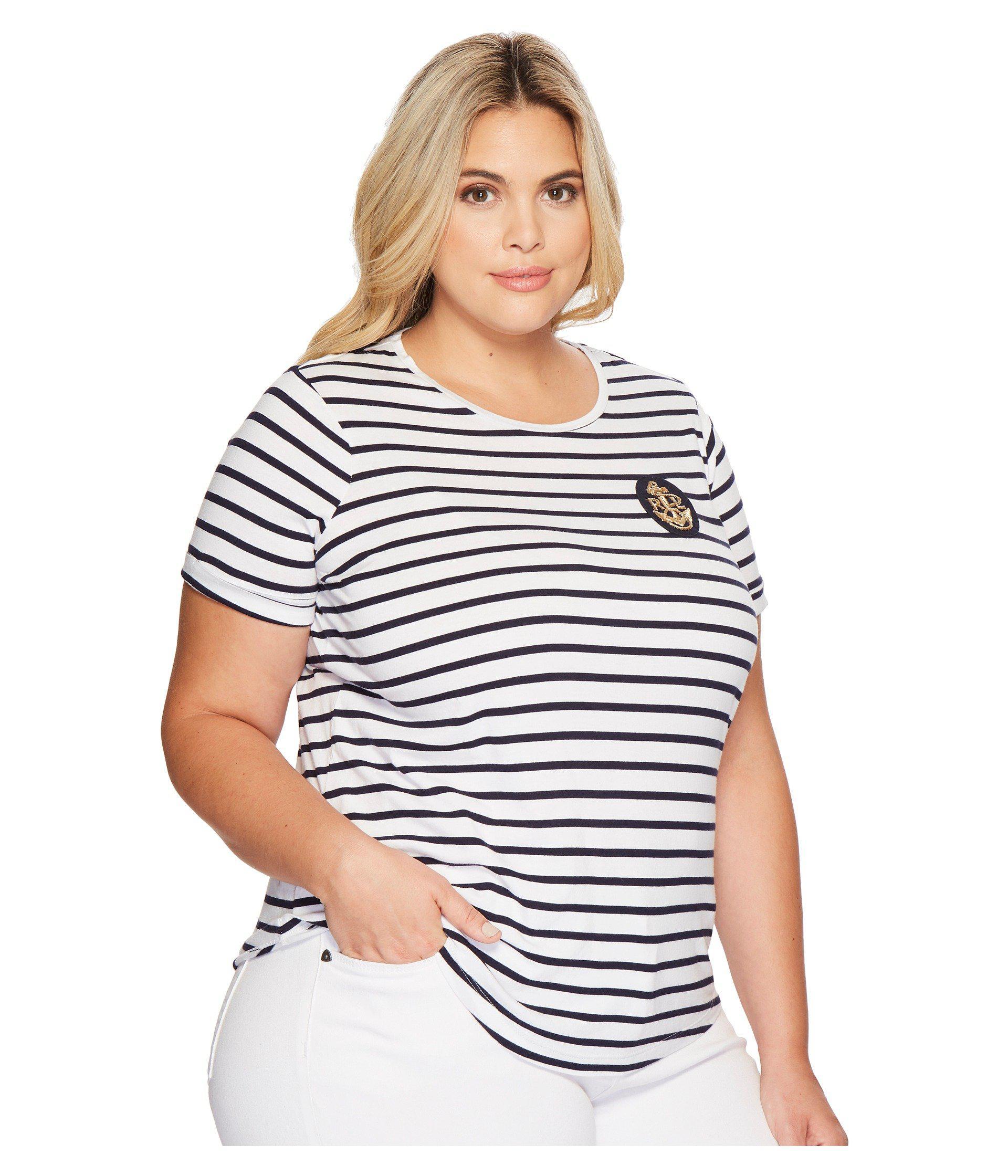 2e9e755b0 Lauren by Ralph Lauren Plus Size Bullion-patch Striped T-shirt in ...
