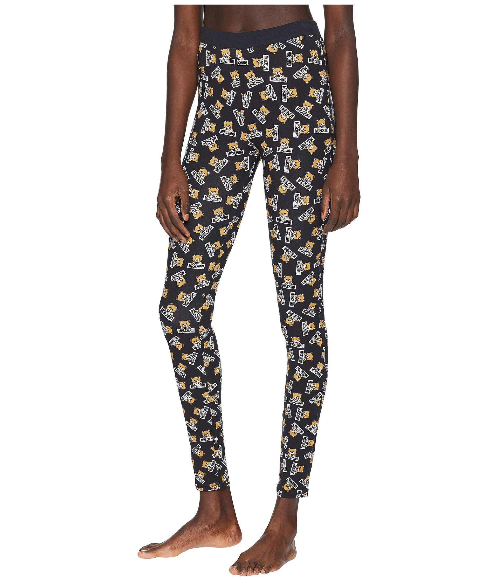 ee4121b2e09 Lyst - Moschino Printed Stretch-cotton Jersey Leggings in Black - Save 43%