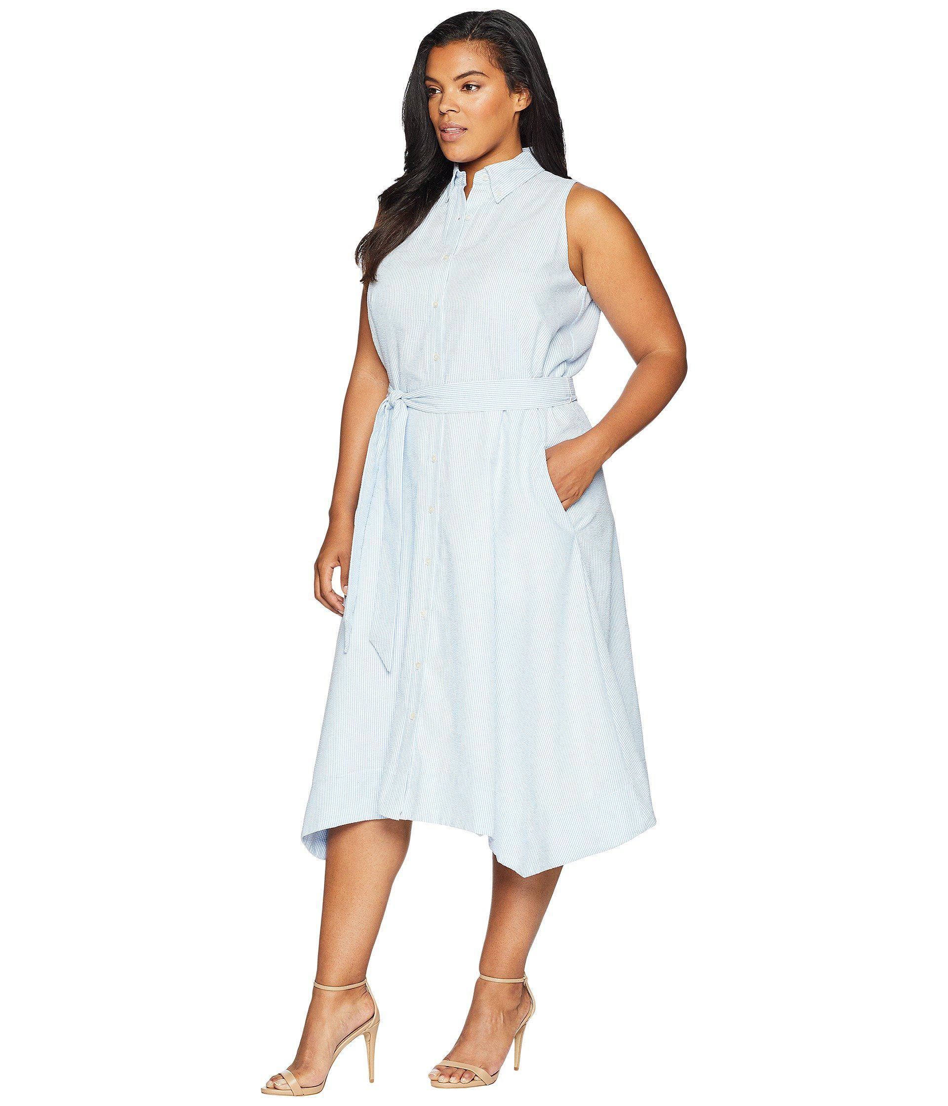 Tahari Plus Size Seersucker Shirtdress (blue/white) Women\'s Dress