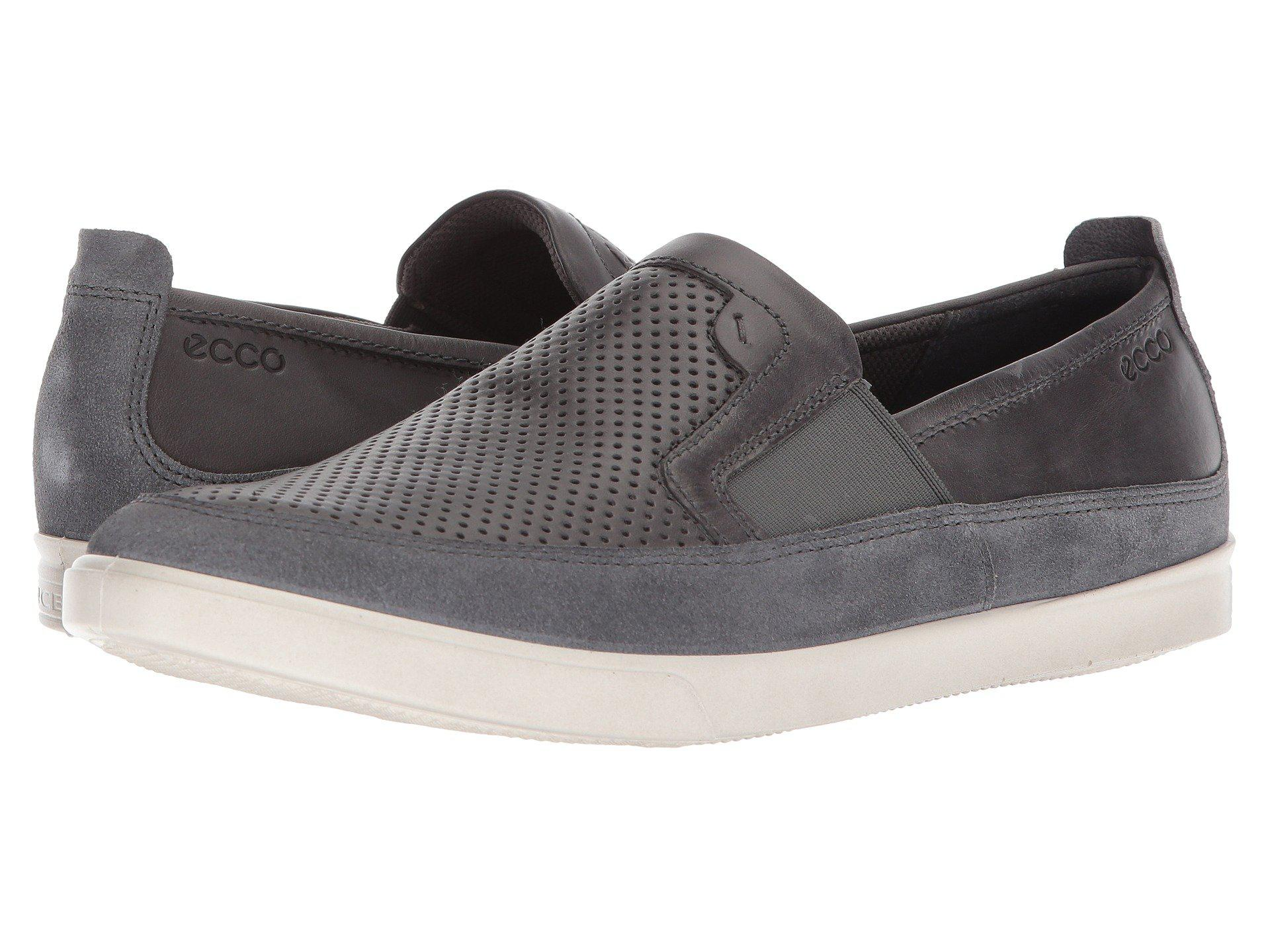 Ecco Leather Collin Micro Perf Slip On Moonless Moonless