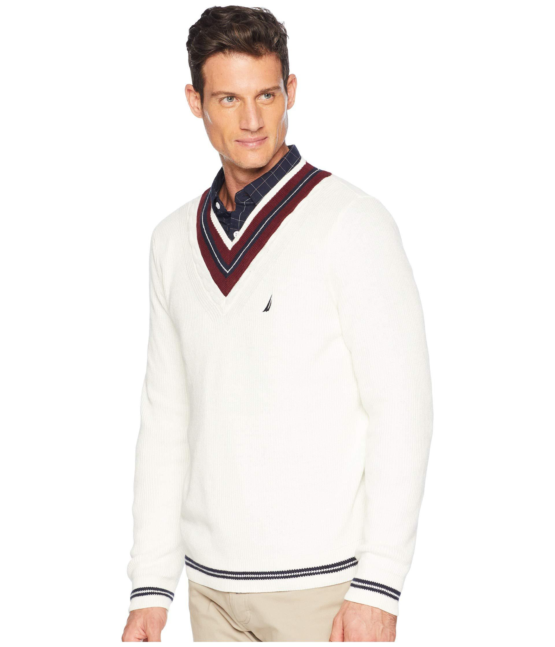 Nautica Mens Long Sleeve Cable Tipped V-Neck Sweater