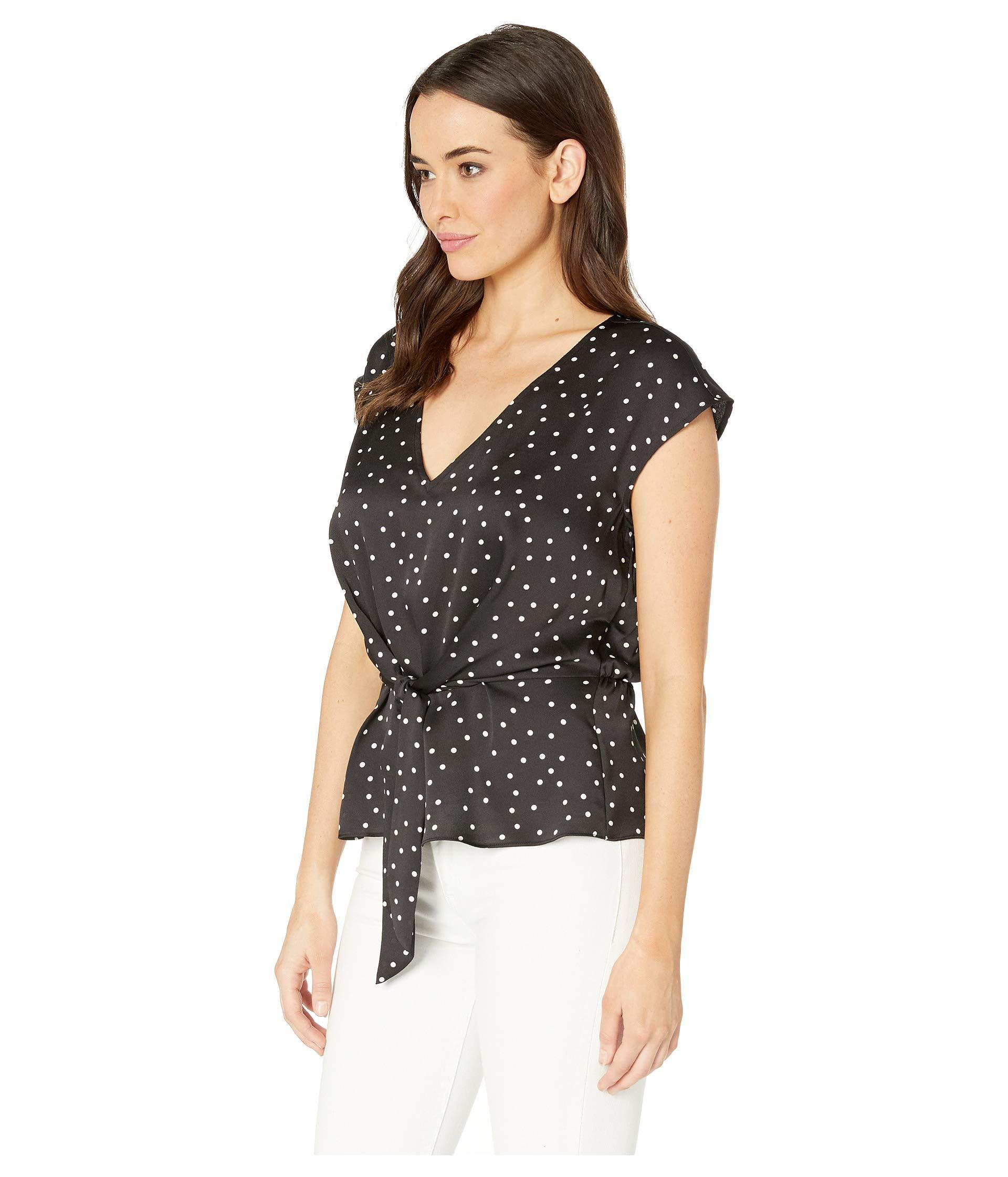 53cac44b51c0bf Lyst - Vince Camuto Extend Shoulder Crisp Polka Dot Tie Front Blouse (rich  Black) Women s Blouse in Black