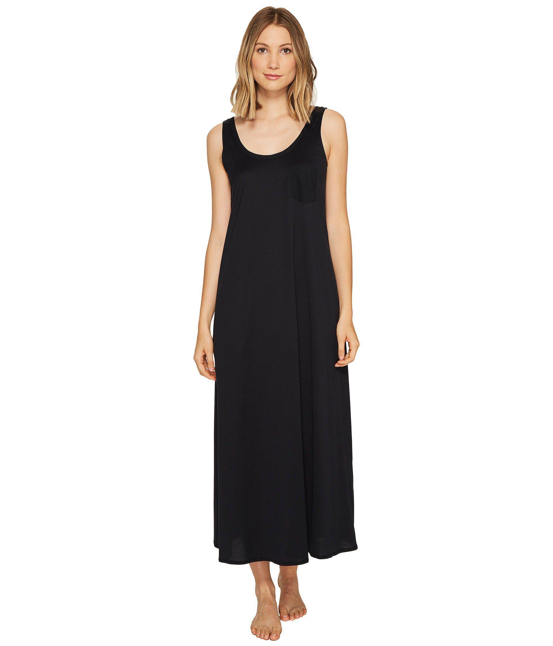 1ff3bf45fc Lyst - Hanro Cotton Deluxe Long Tank Nightgown (black) Women s ...
