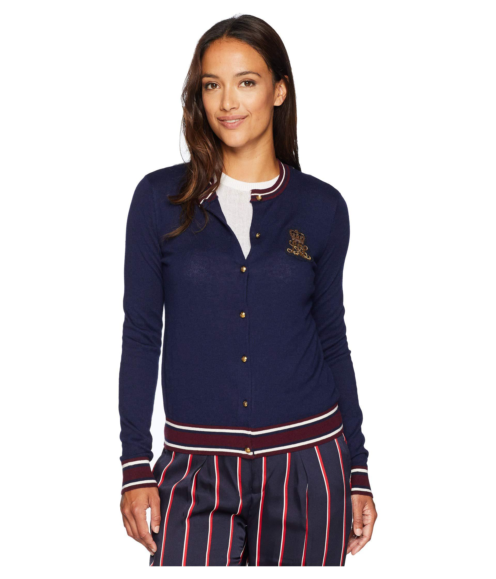Lauren by Ralph Lauren. Blue Petite Bullion-patch Cotton Cardigan (navy  multi) Women s Sweater 160897c67