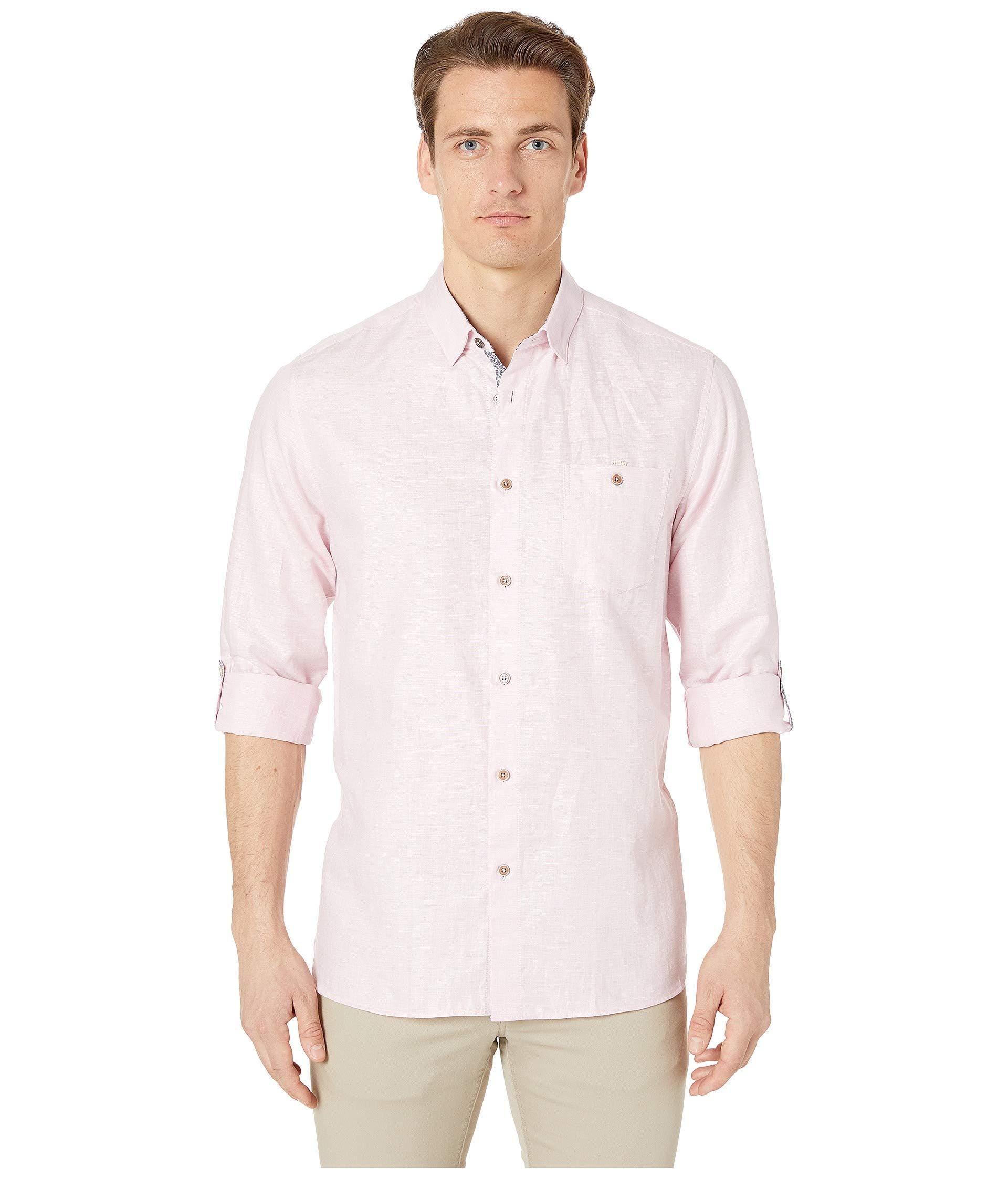 8bf15571fb2b Lyst - Ted Baker Emuu Long Sleeve Linen Shirt (light Pink) Men s ...