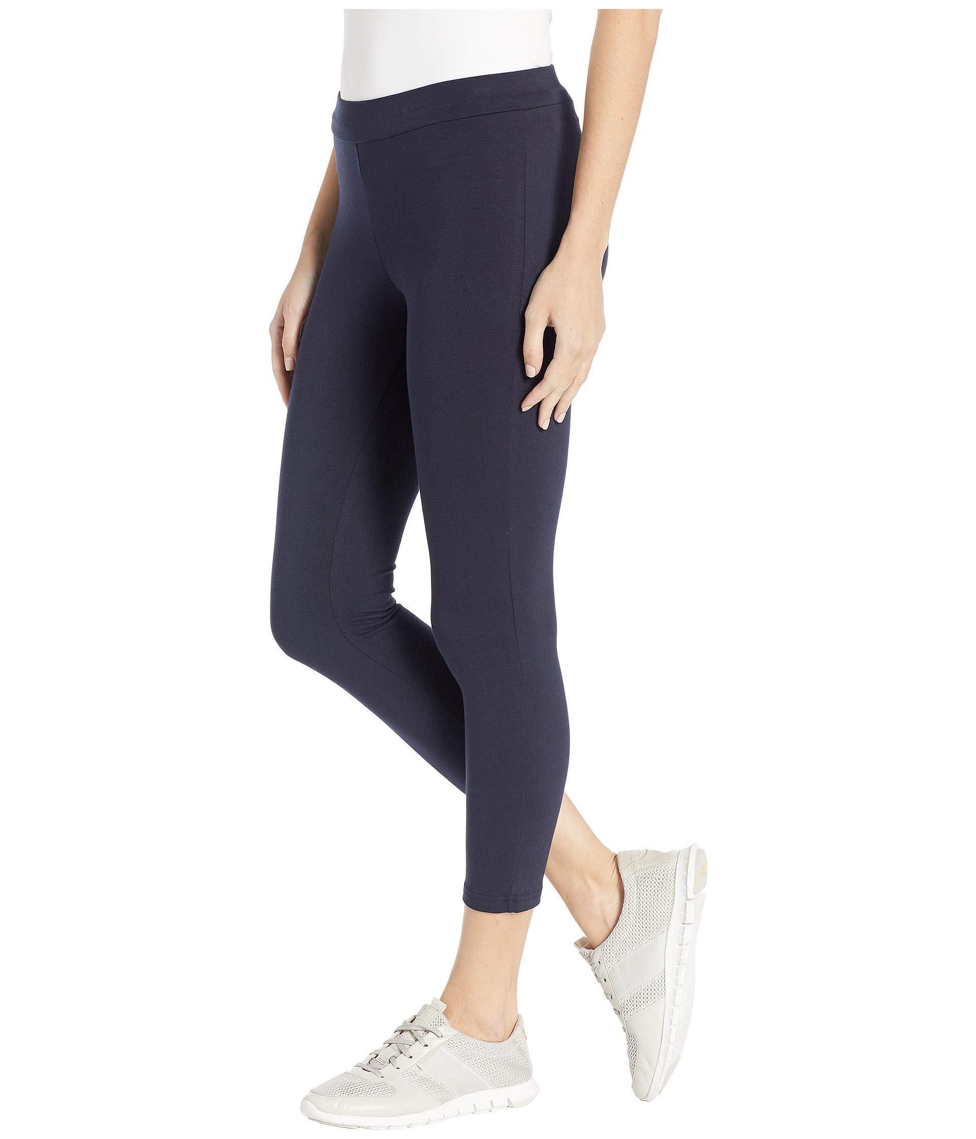 718f43f53f2 Lyst - Hue Wide Waistband Blackout Cotton Capri Leggings (black) Women s  Casual Pants in Blue