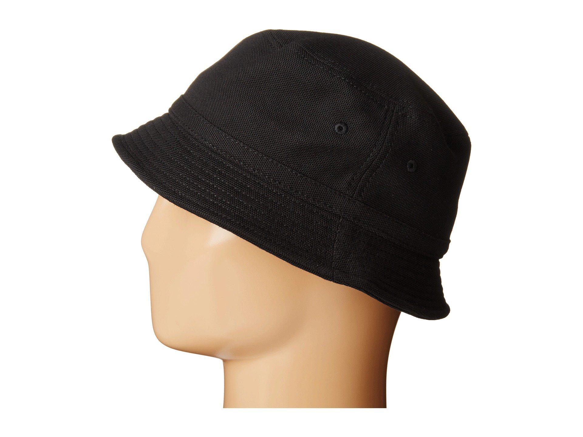 c10dfc55 Lacoste Pique Bucket Hat (black) Caps in Black for Men - Lyst