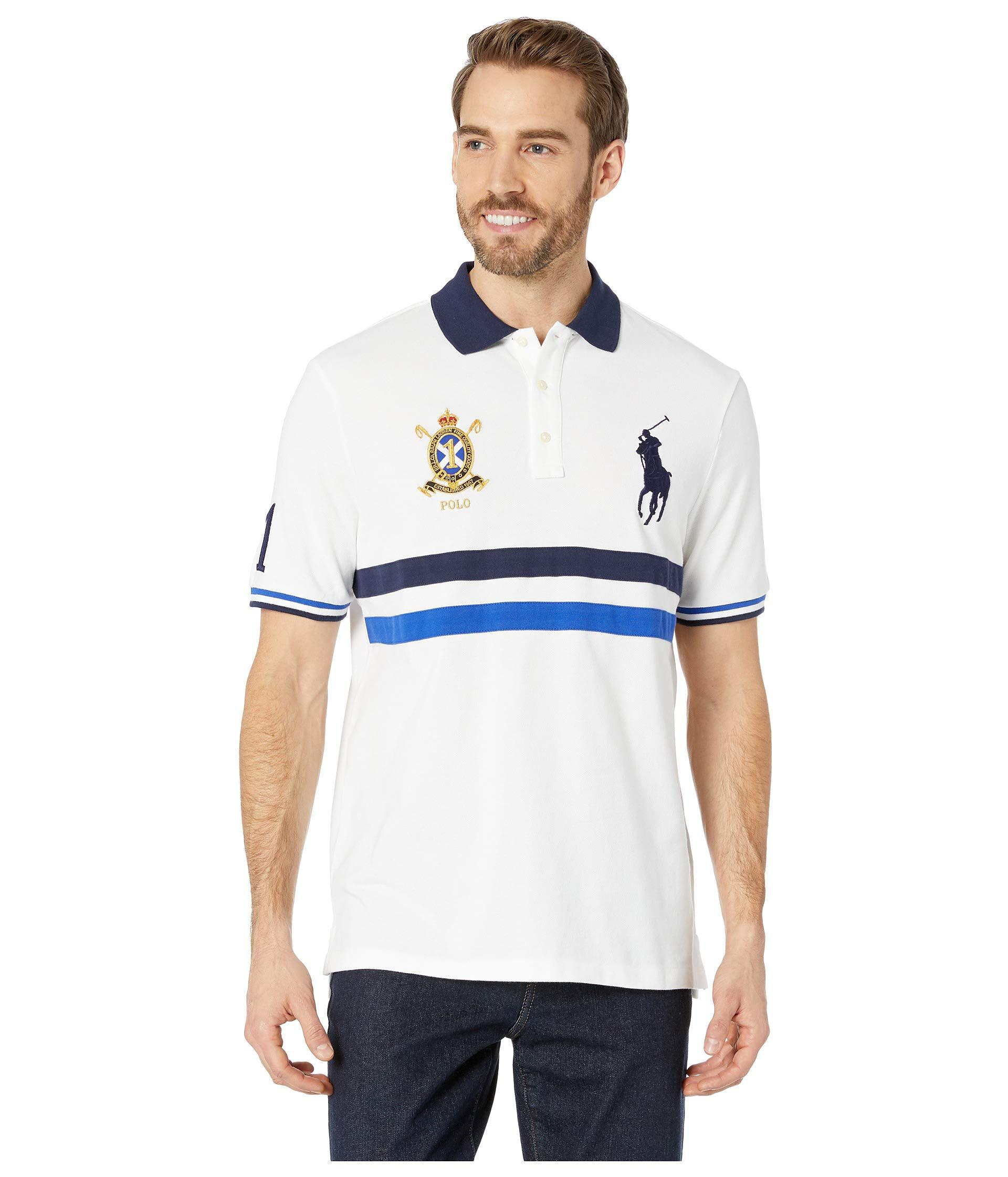 7f47a772 Polo Ralph Lauren Basic Mesh Short Sleeve Novelty Big Pony Classic Fit Knit  (white Multi) Men's Clothing for men