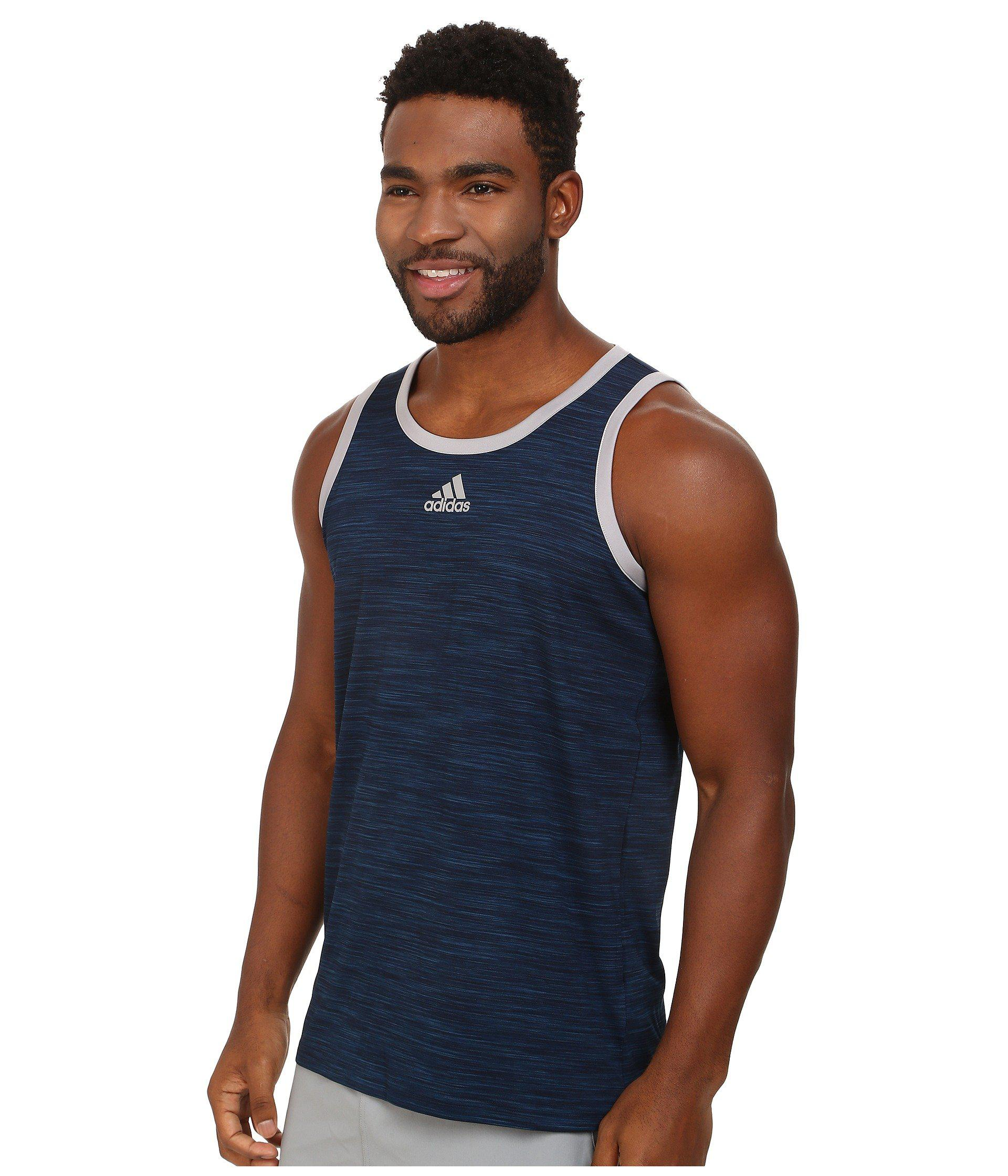 c3e8a3d2a28ecb Lyst - adidas Heathered Tank (scarlet black) Men s Sleeveless in Blue for  Men