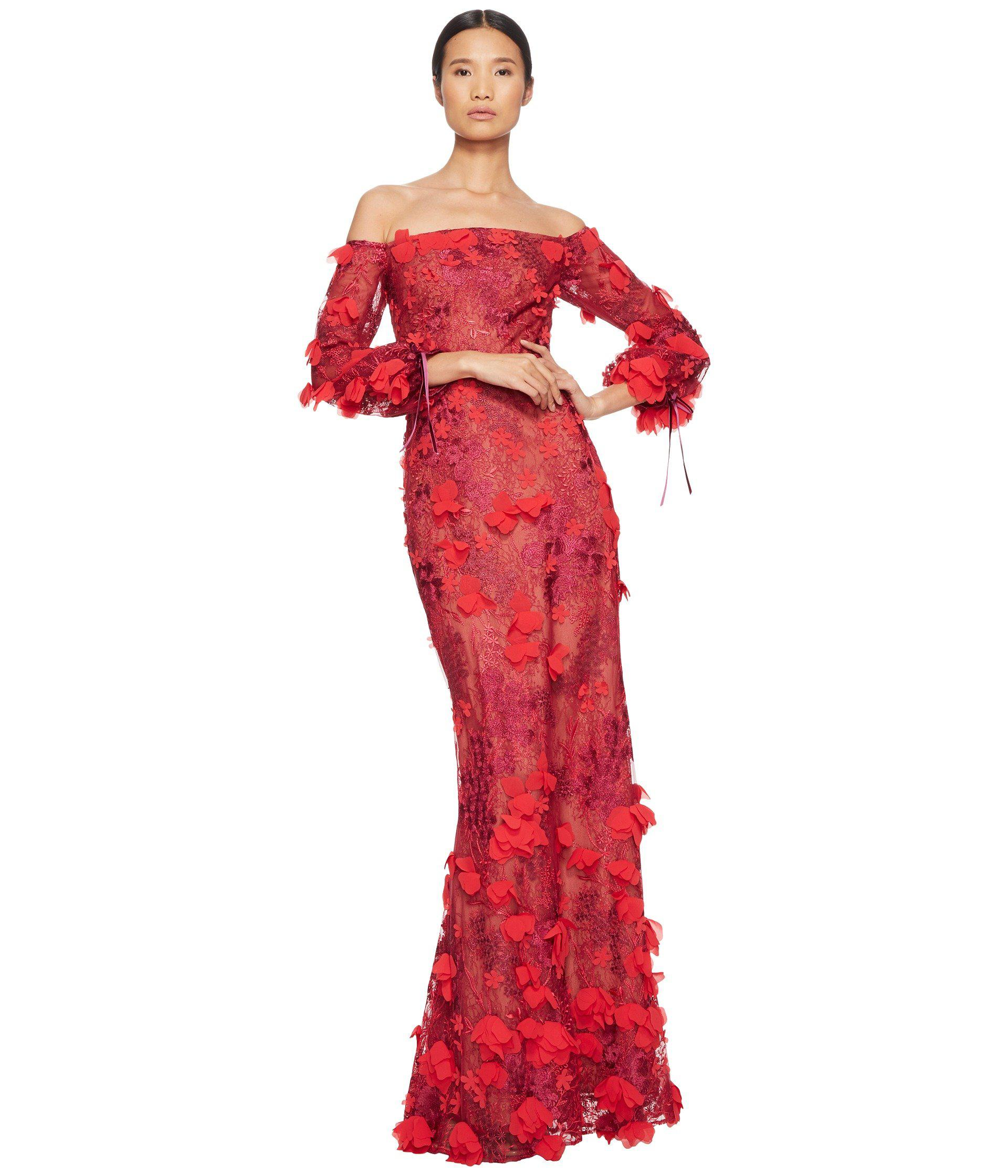 3a097a511e6d Marchesa notte Off The Shoulder 3d Embroidered Gown With Bishop ...