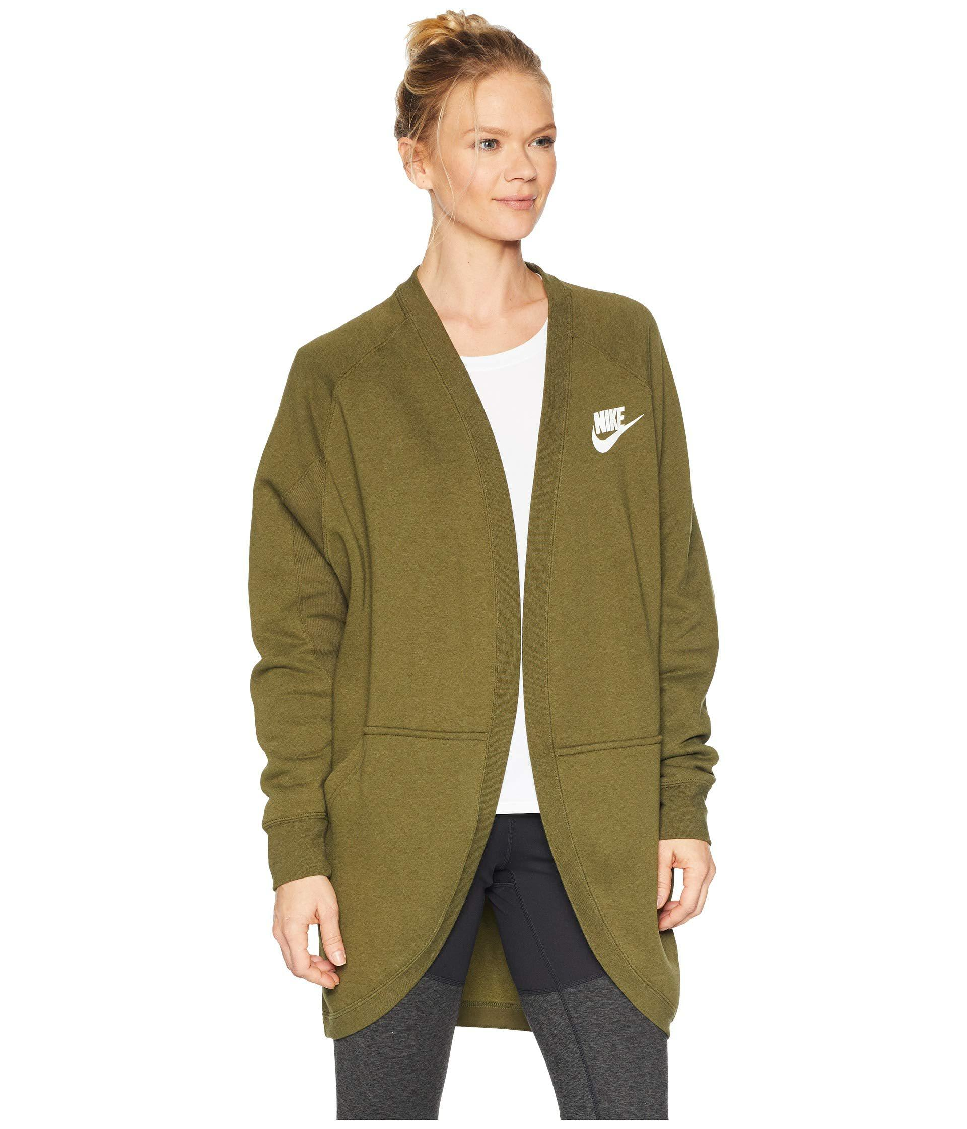 Nike Cotton Rally Rib Cardigan Grey Heather Pale Grey