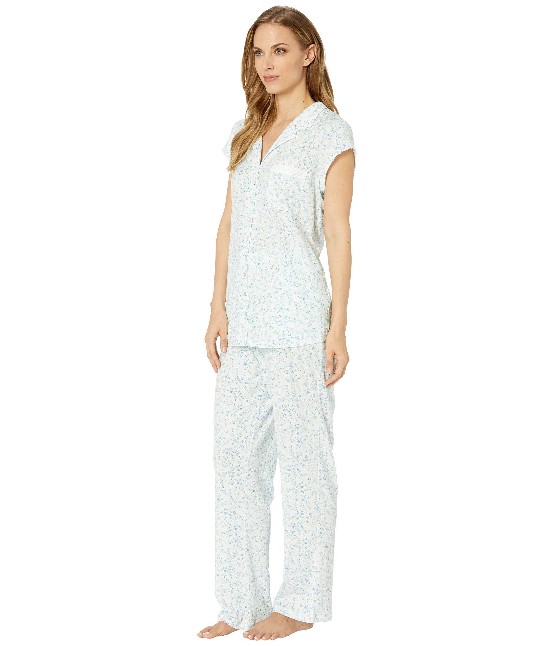 Lyst - Eileen West Cotton Modal Notch Collar Pajama Set (white Multi Floral  Scroll) Women s Pajama Sets in White a8b74fa96