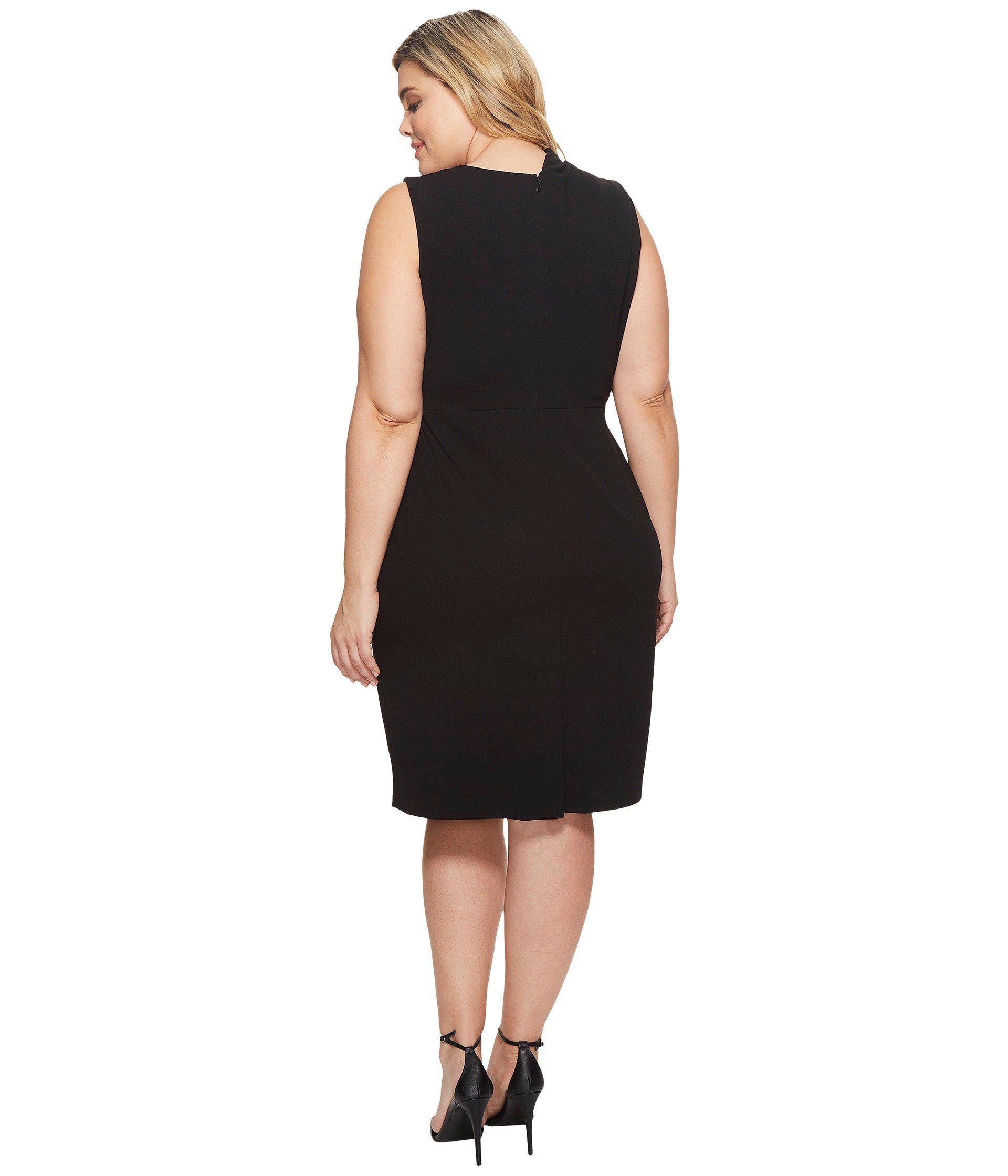 Adrianna Papell Synthetic Plus Size Drape Neck Sheath