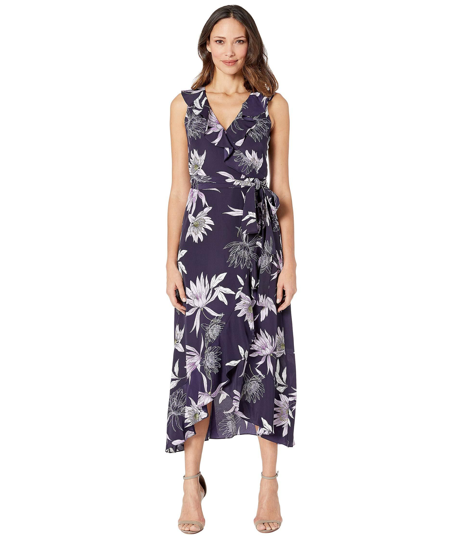 a0b51cc9 Lyst - Vince Camuto Printed Cdc V-neck Faux Wrap Dress (navy Multi ...