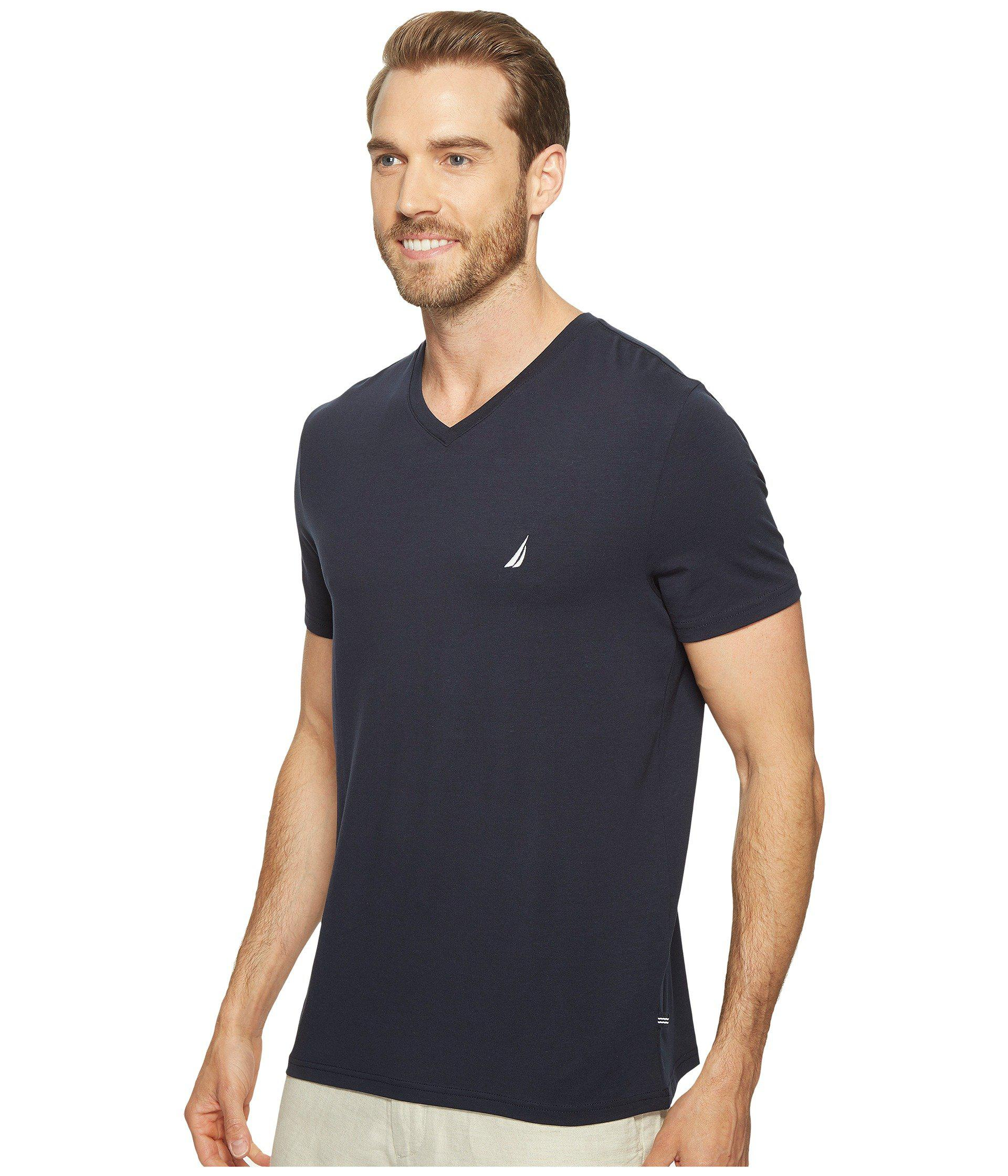 923a4de0922c9 Lyst - Nautica Slim Fit V-neck T-shirt (grey Heather) Men s Clothing in  Blue for Men