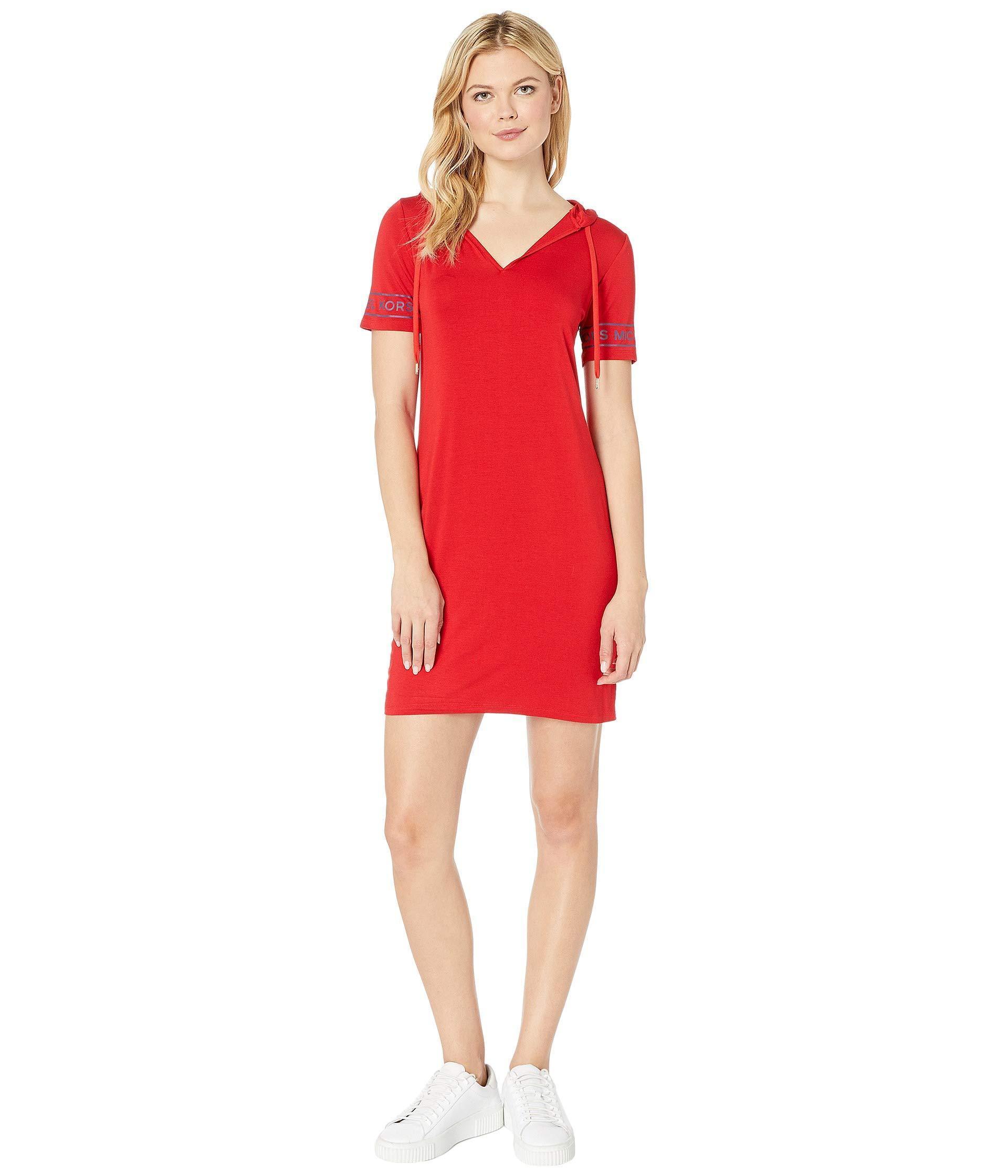 f200bcefde9 Lyst - MICHAEL Michael Kors Logo Sleeve Hoodie Dress (scarlet ...