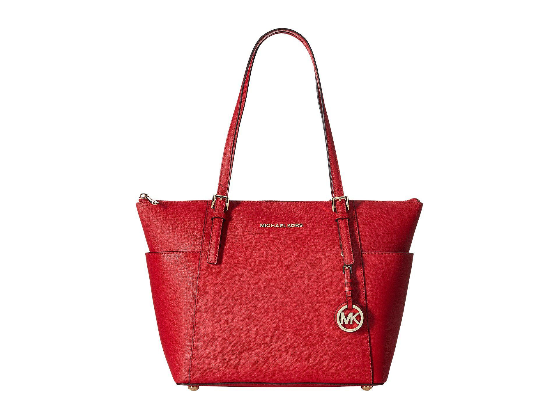 3829212f6563 Lyst - MICHAEL Michael Kors Jet Set Item Ew Tz Tote in Red