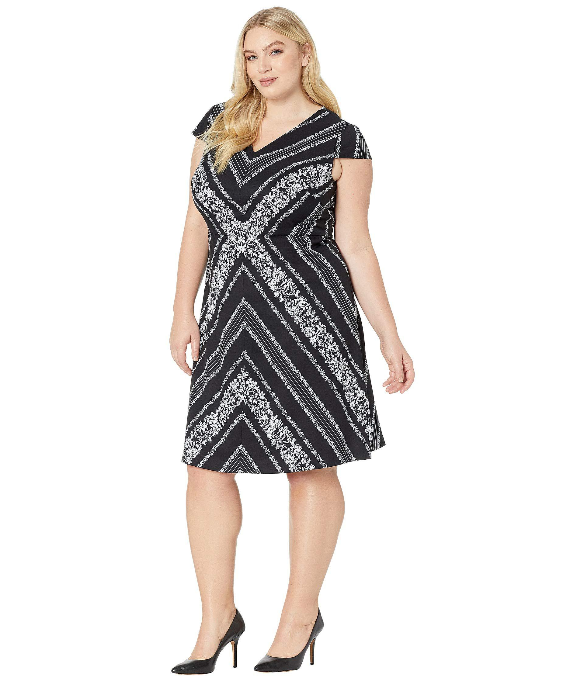 Lyst - Adrianna Papell Plus Size Botanical Chevron Fit Flare Dress ...