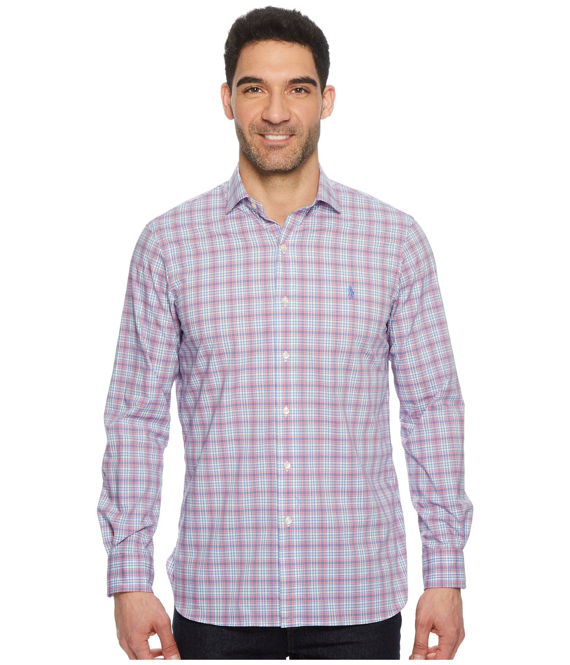 ad5ce6be8c Lyst - Polo Ralph Lauren Poplin Long Sleeve Sport Shirt (pearl/ruby ...