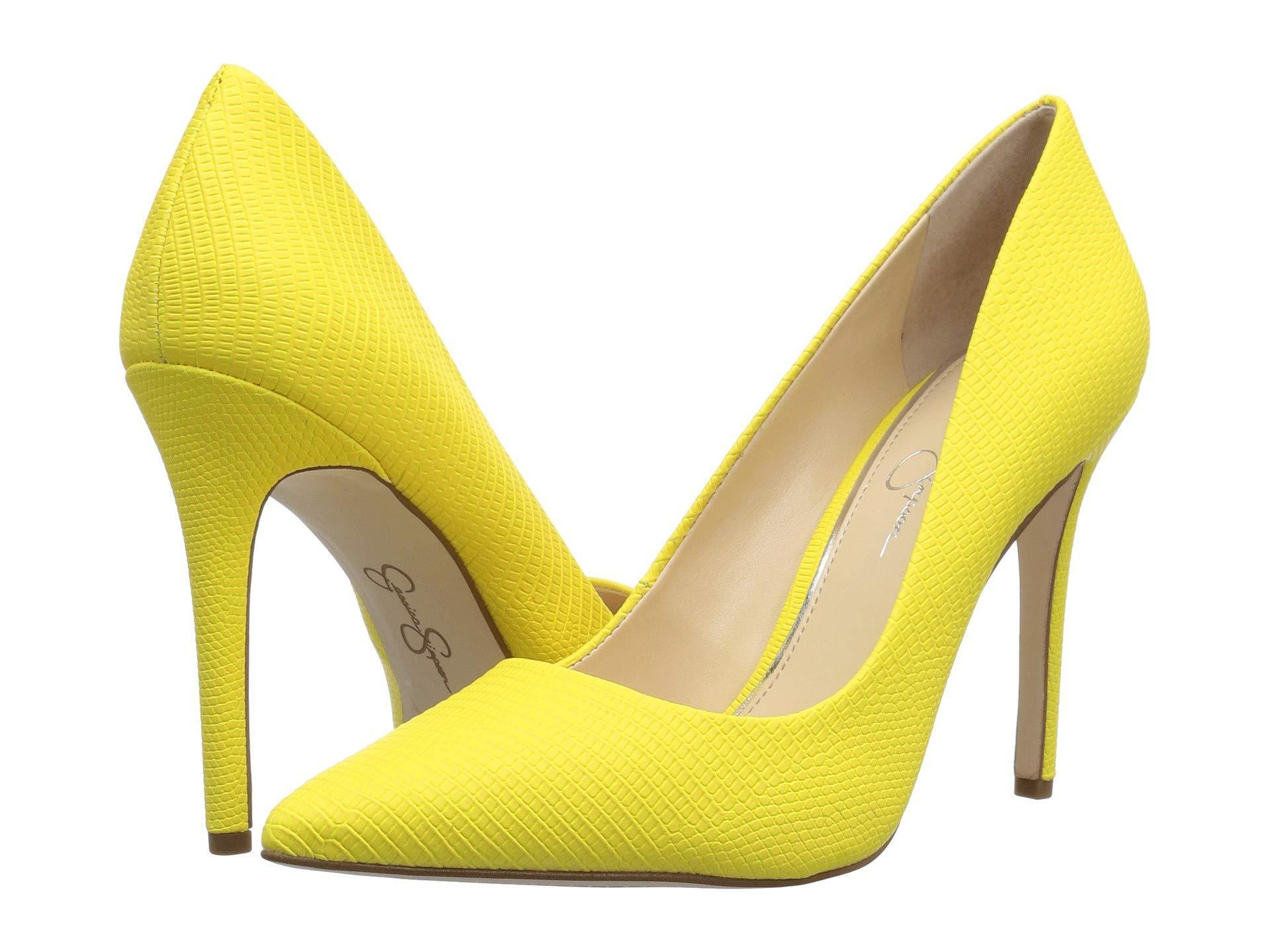 52b40ede3ec Jessica Simpson. Women s Yellow Praylee (black Soft Nappa Silk) High Heels