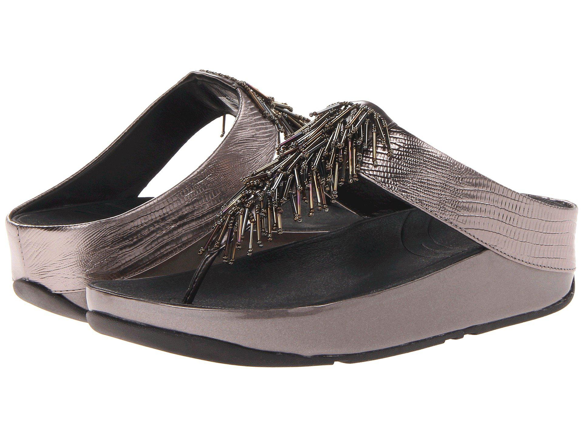 Fitflop Cha Cha Beaded Fringe Toe Post Sandals In Gray Lyst