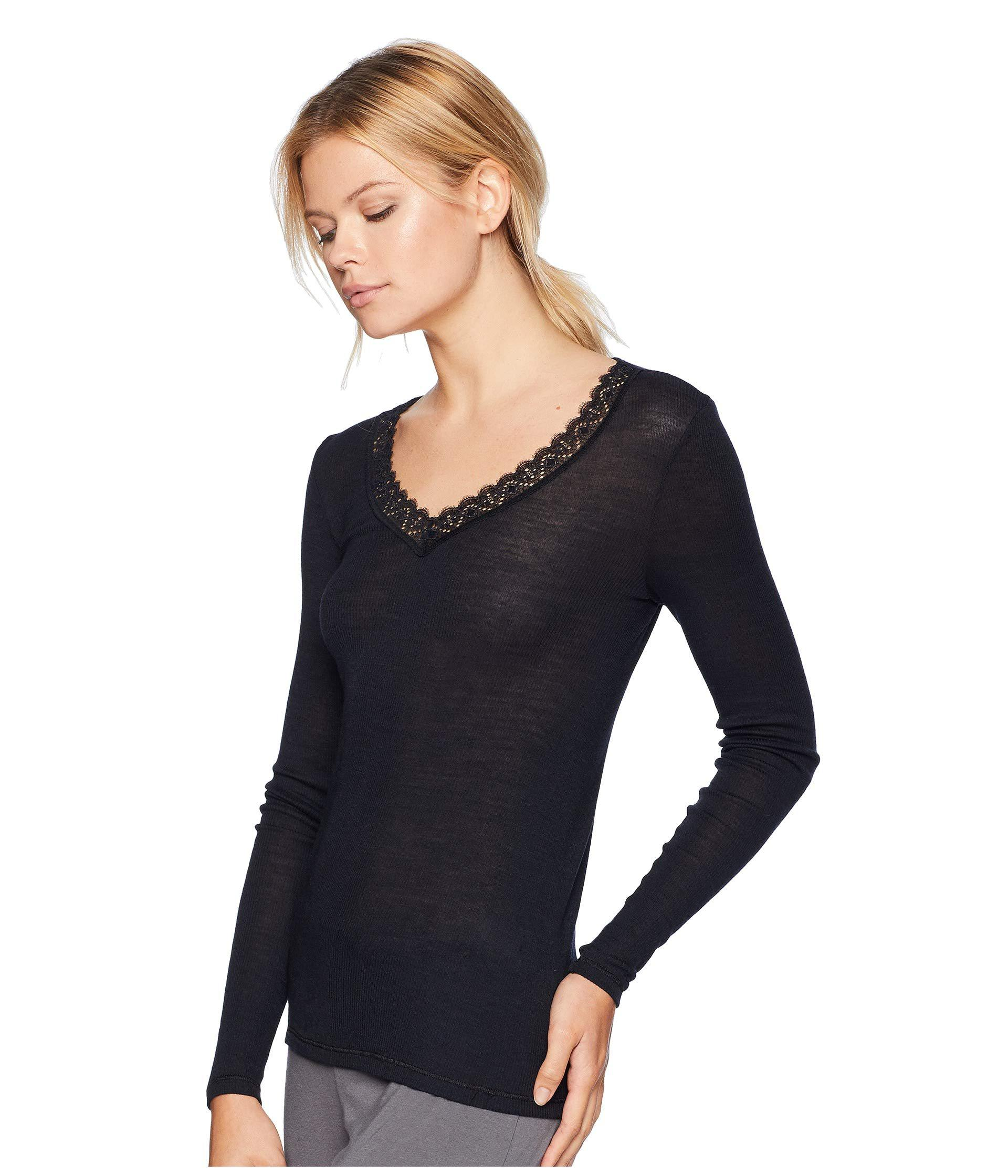 9d451cc42dc1 Lyst - Hanro Woolen Lace Long Sleeve Shirt (vanilla) Women's Pajama in Black