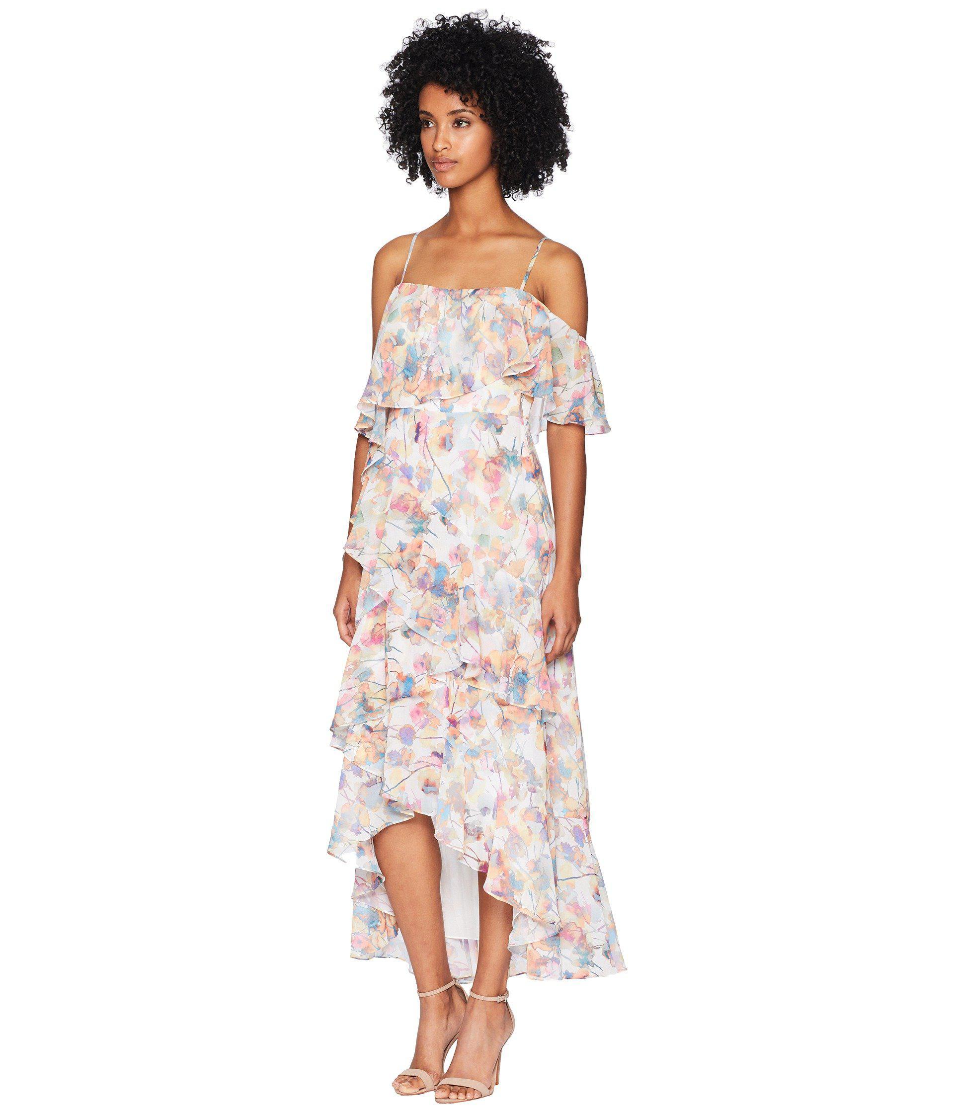 ff305d2ec9b Lyst - ML Monique Lhuillier Spaghetti Strap Dress With Asymmetrical Flounce  (watercolor) Women s Dress