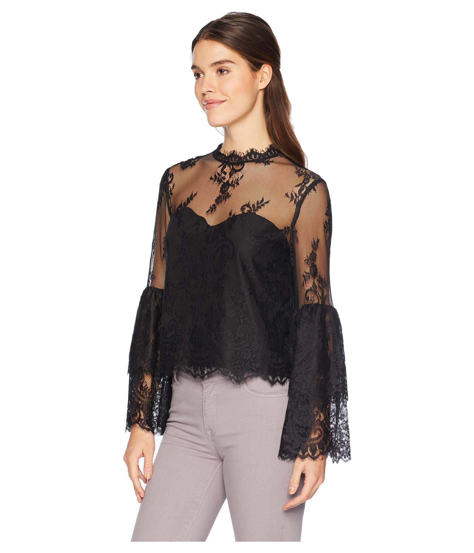 a5434f6bc8f417 Lyst - Cupcakes And Cashmere Davey Layered Lace Blouse (black) Women s  Blouse in Black