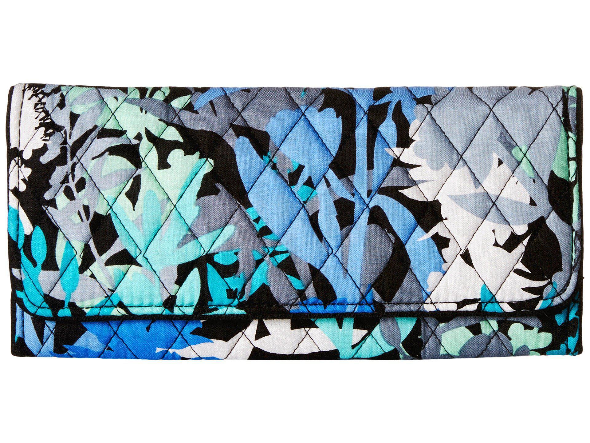 Vera Bradley Trifold Wallet Camofloral Wallet Handbags In Blue