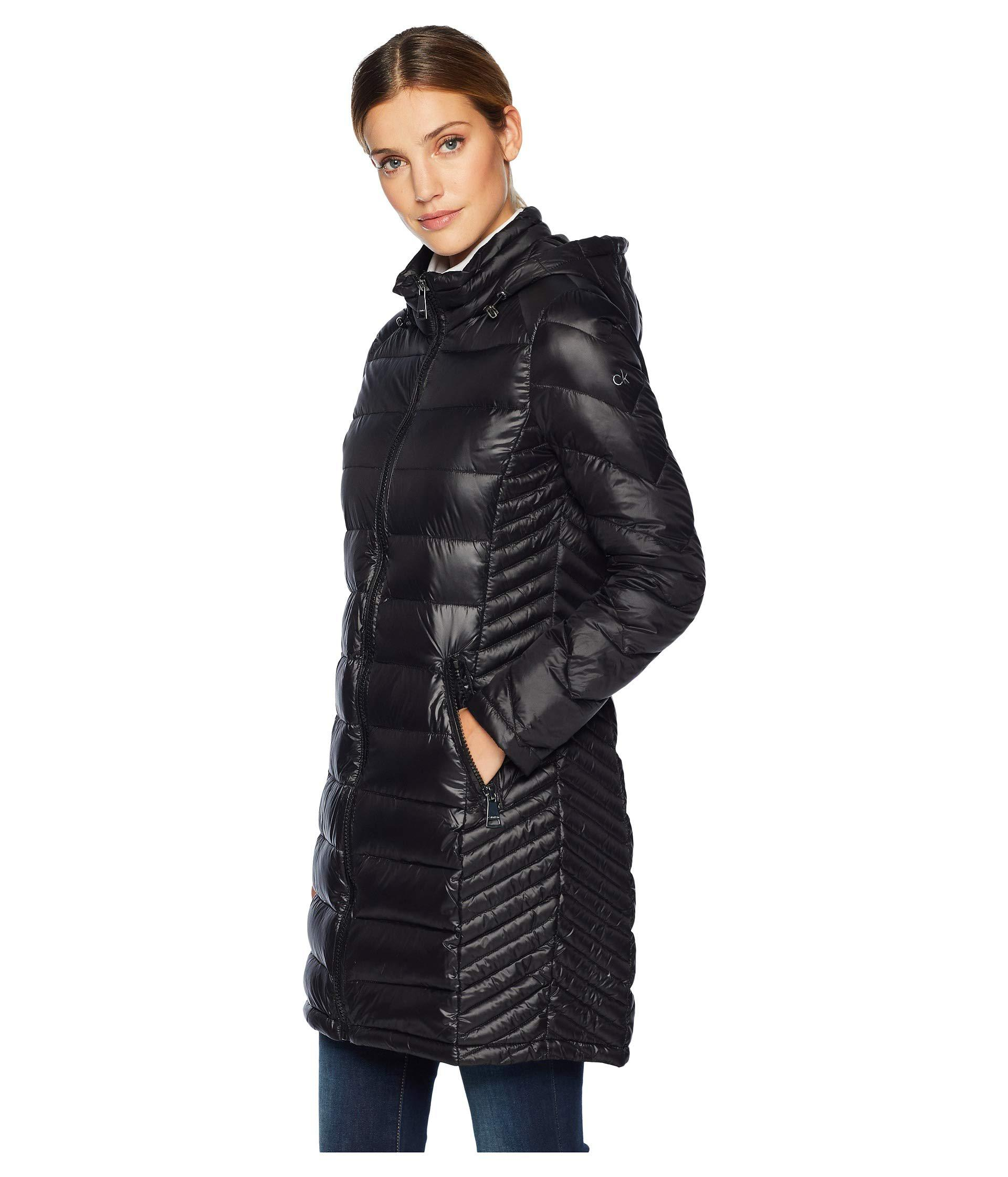 c8928ed9b8a Lyst - Calvin Klein Walker Length Packable With Chunky Zipper Hardware  (shine Chianti) Women s Coat in Black