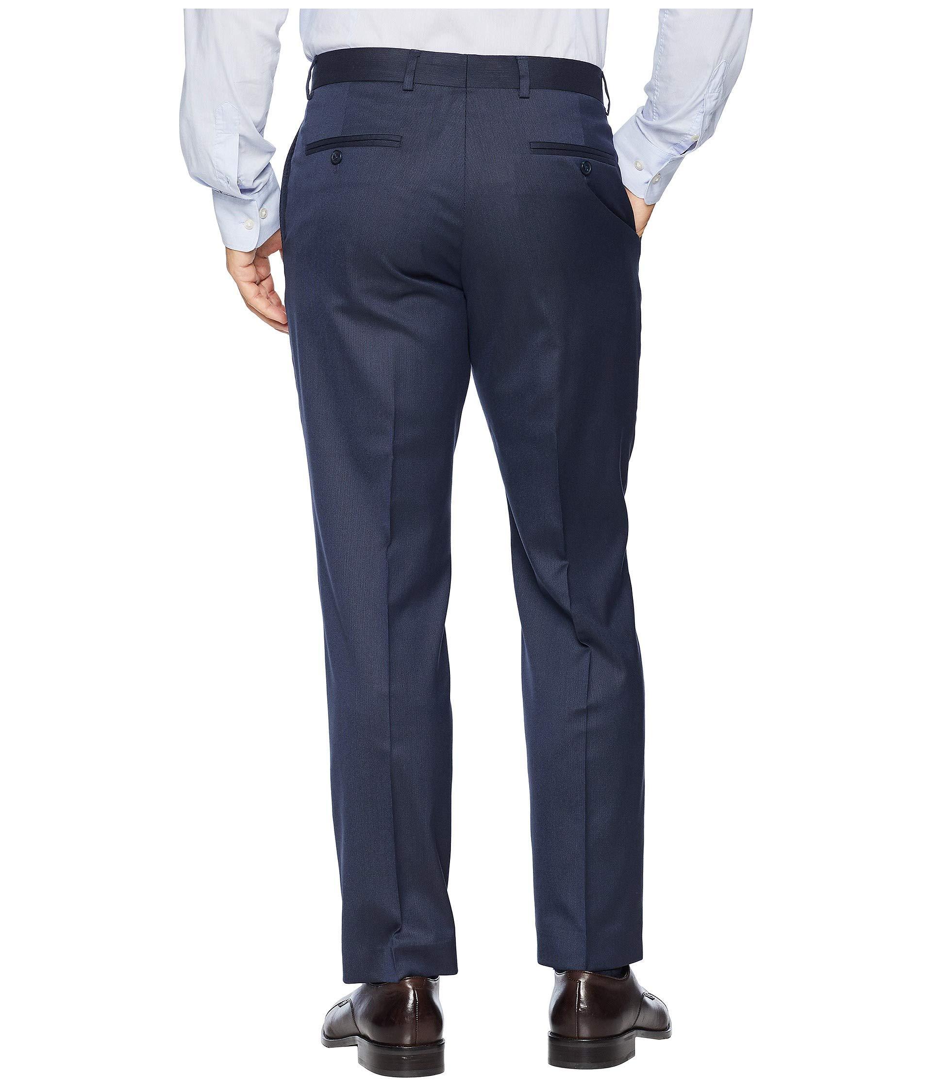 $90 DKNY Men/'s Side-Stripe Chino Slim Straight Flat Pants 32 x 32 Navy Blue