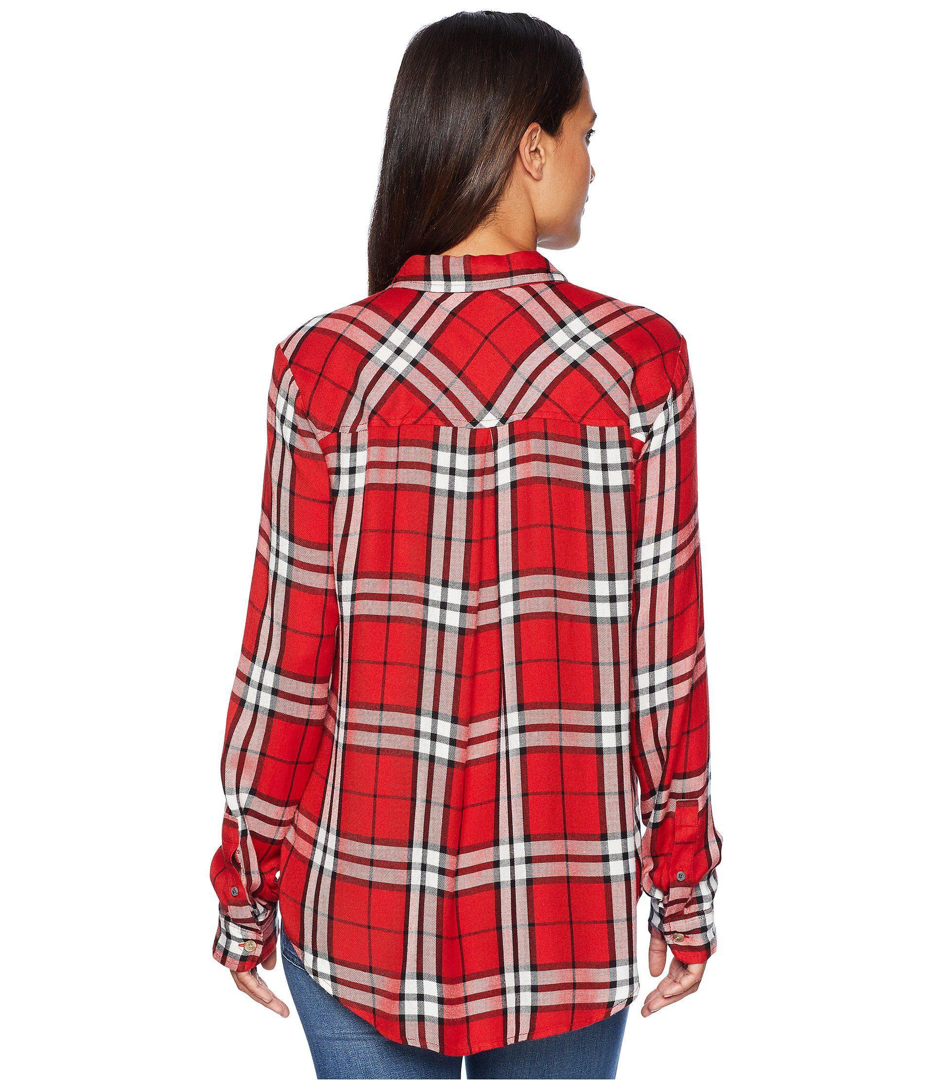 Lucky Brand Womens Boyfriend Plaid Shirt in Red Multi