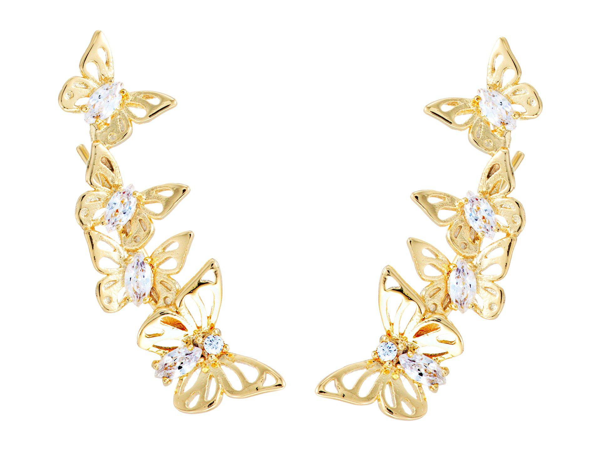 dd2dc1262513f Kate Spade Social Butterfly Ear Pin Earrings in Metallic - Lyst