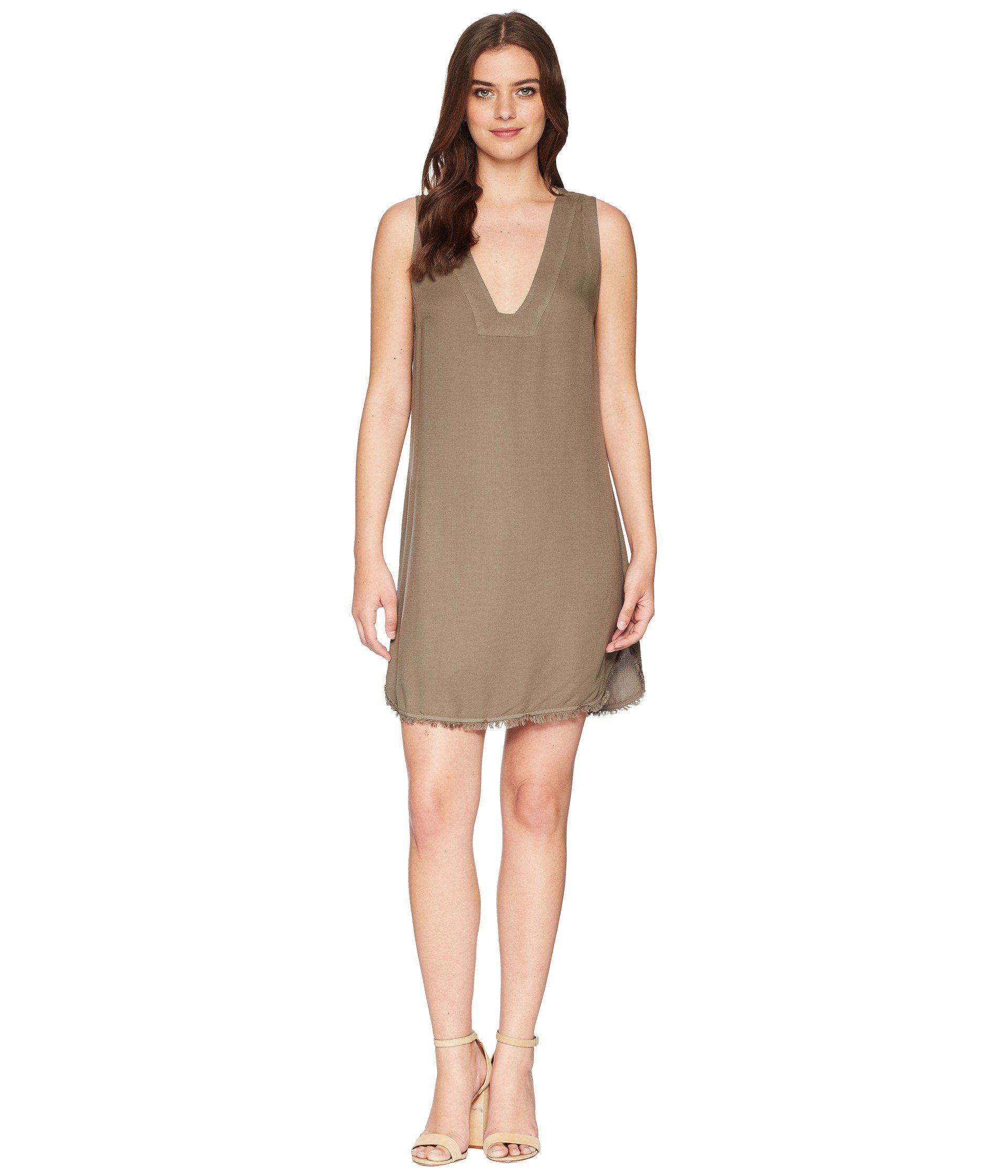 Splendid Woman Frayed Textured-jersey Mini Dress Army Green Size L Splendid 226BUI96