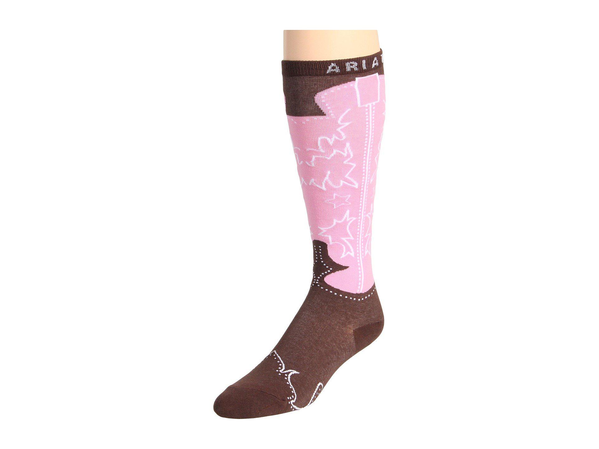 481733890ce Western Boot Sock (brown/pink) Women's Knee High Socks Shoes