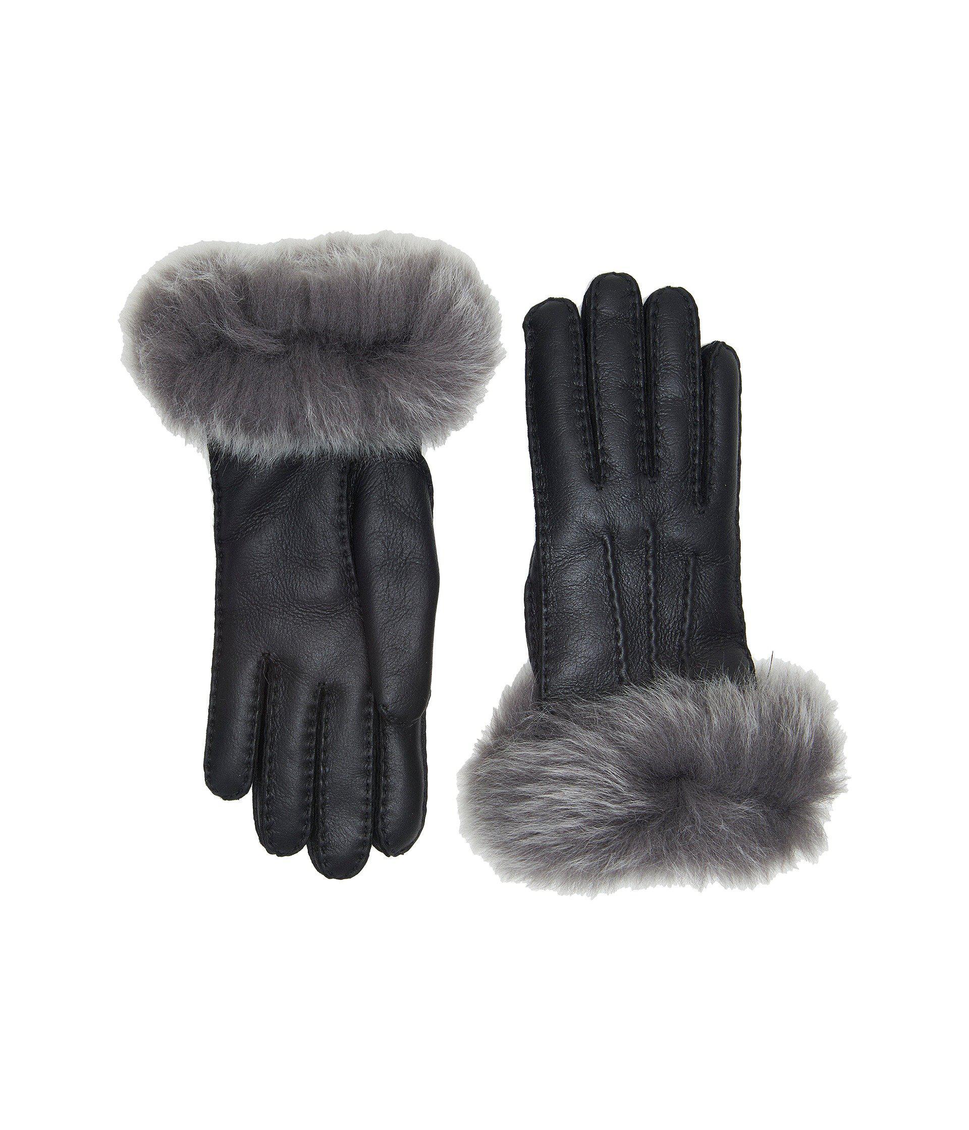 e0d10533d5b2b Lyst - UGG 3pt Toscana Waterproof Sheepskin Gloves in Black