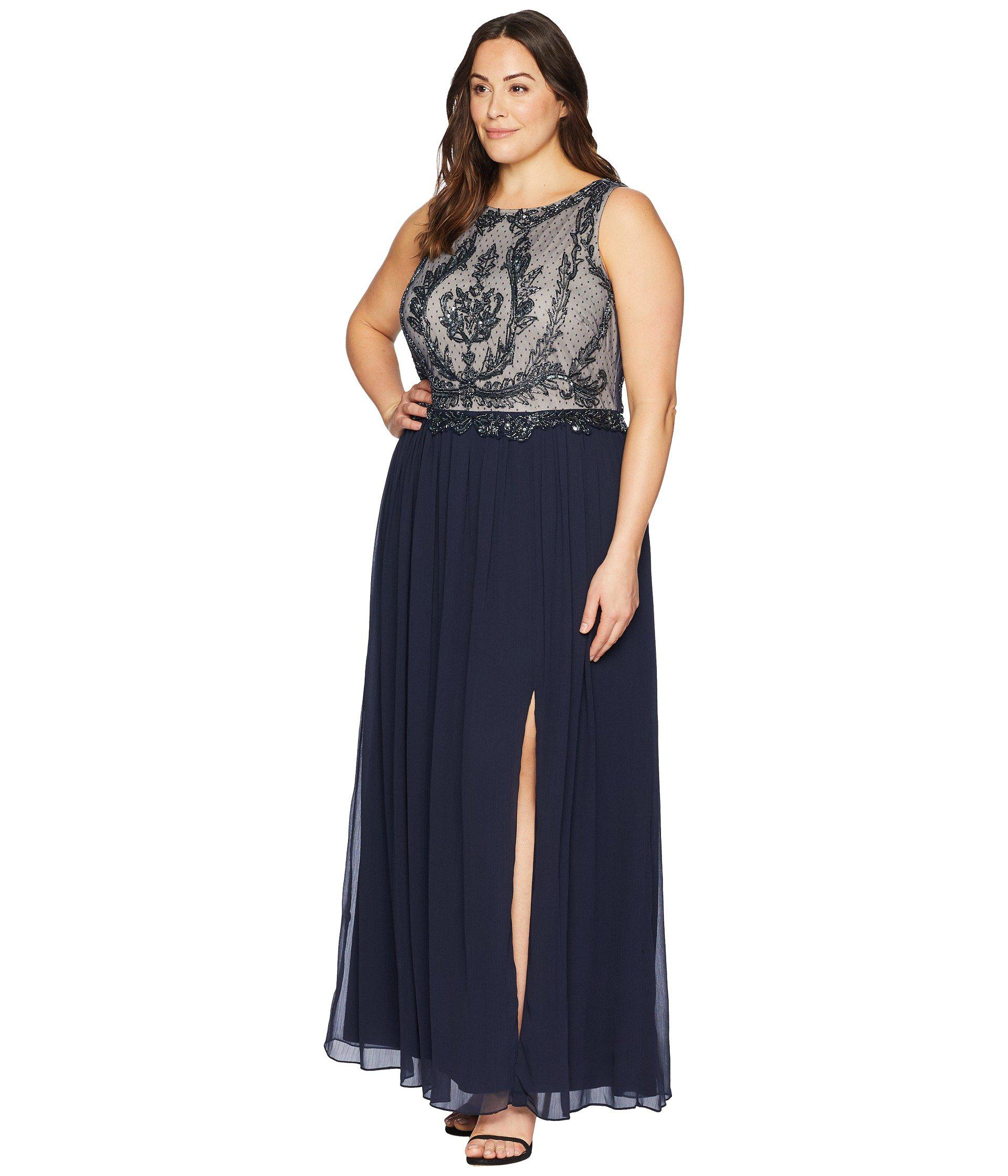 Lyst - Adrianna Papell Plus Size Sleeveless Bead Bodice Gown in Blue