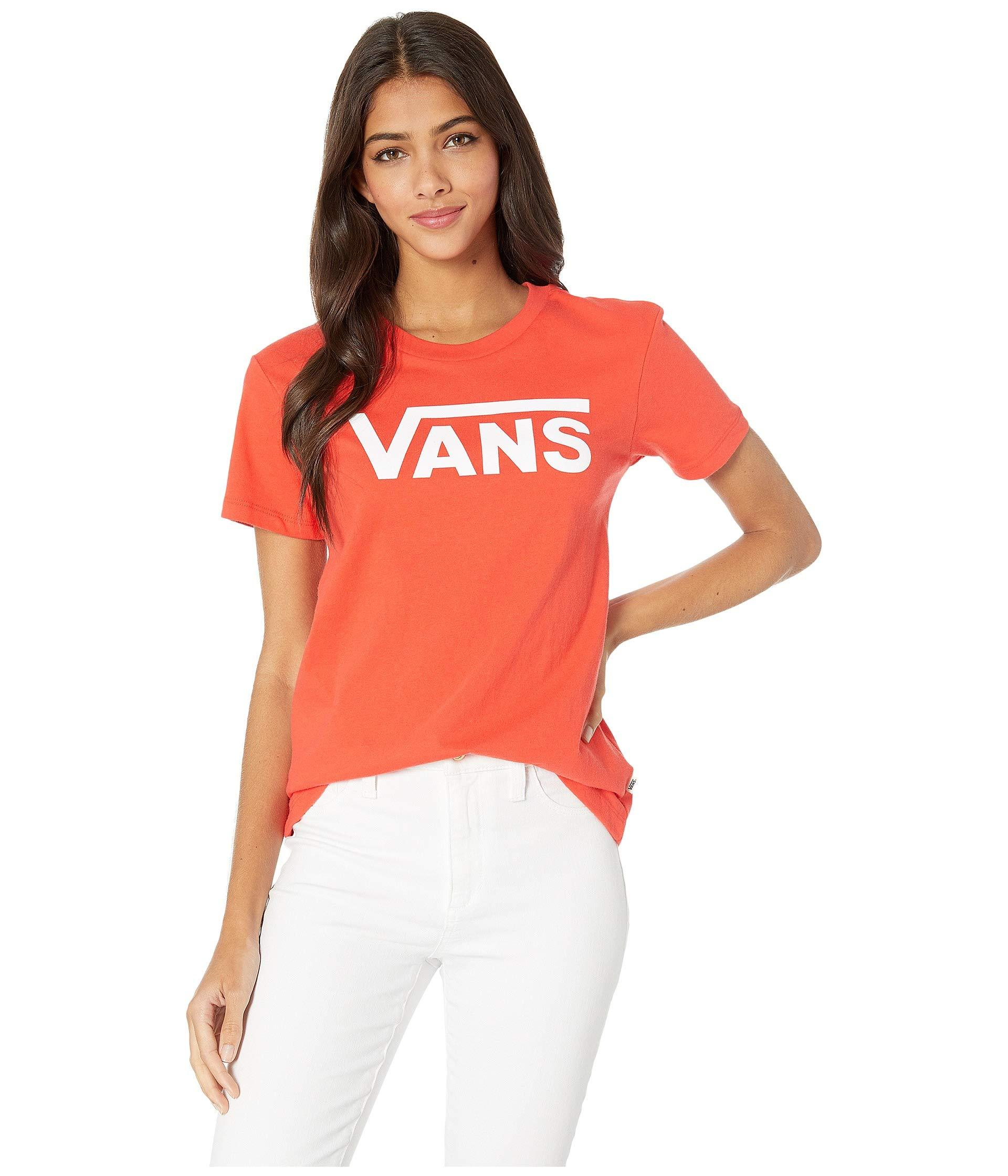 034a2f860e Vans - Flying V Crew T-shirt (poppy Red) Women s Clothing - Lyst. View  fullscreen