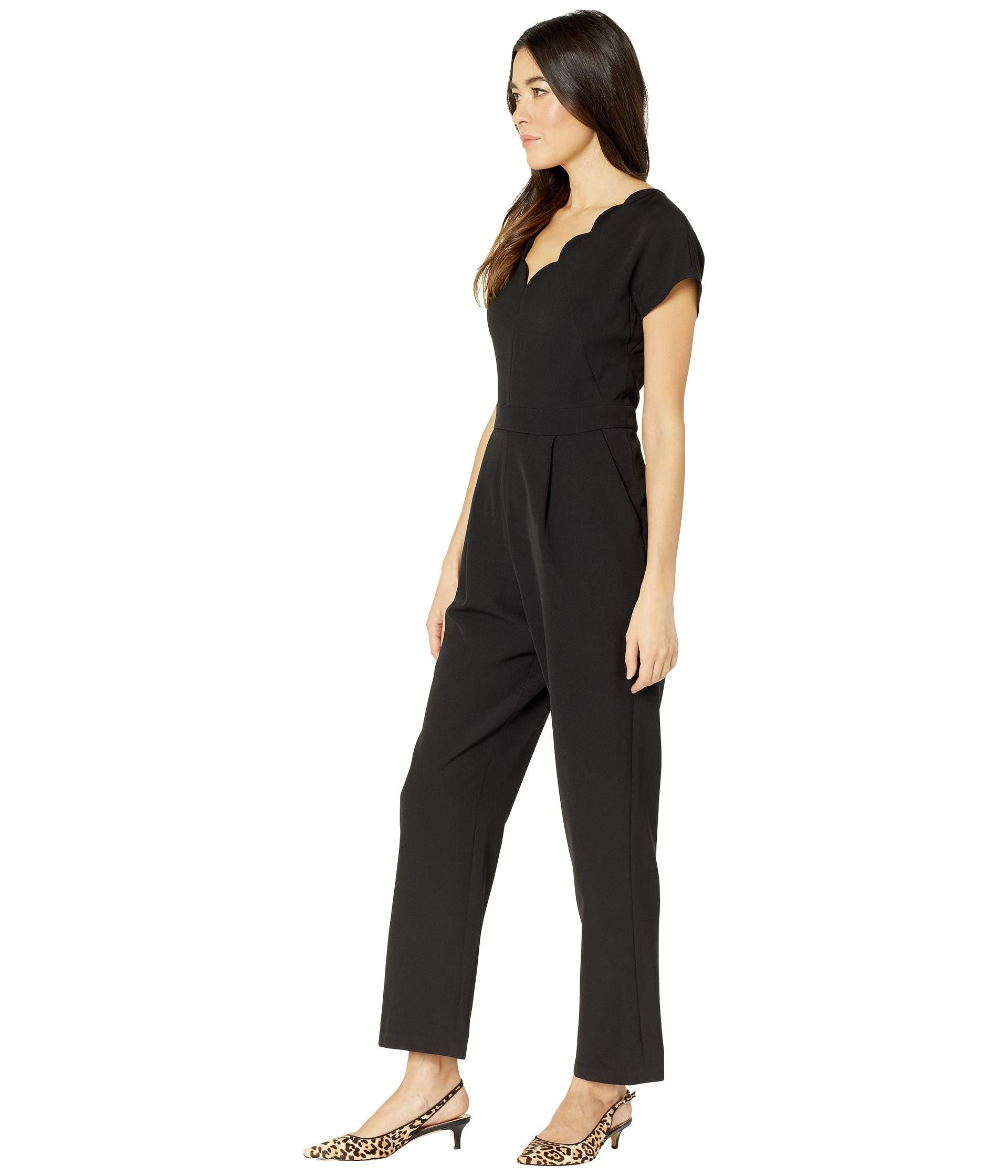 6aa160db085b Lyst - Maggy London Dream Crepe Scalloped Neck Jumpsuit (black) Women s  Jumpsuit   Rompers One Piece in Black