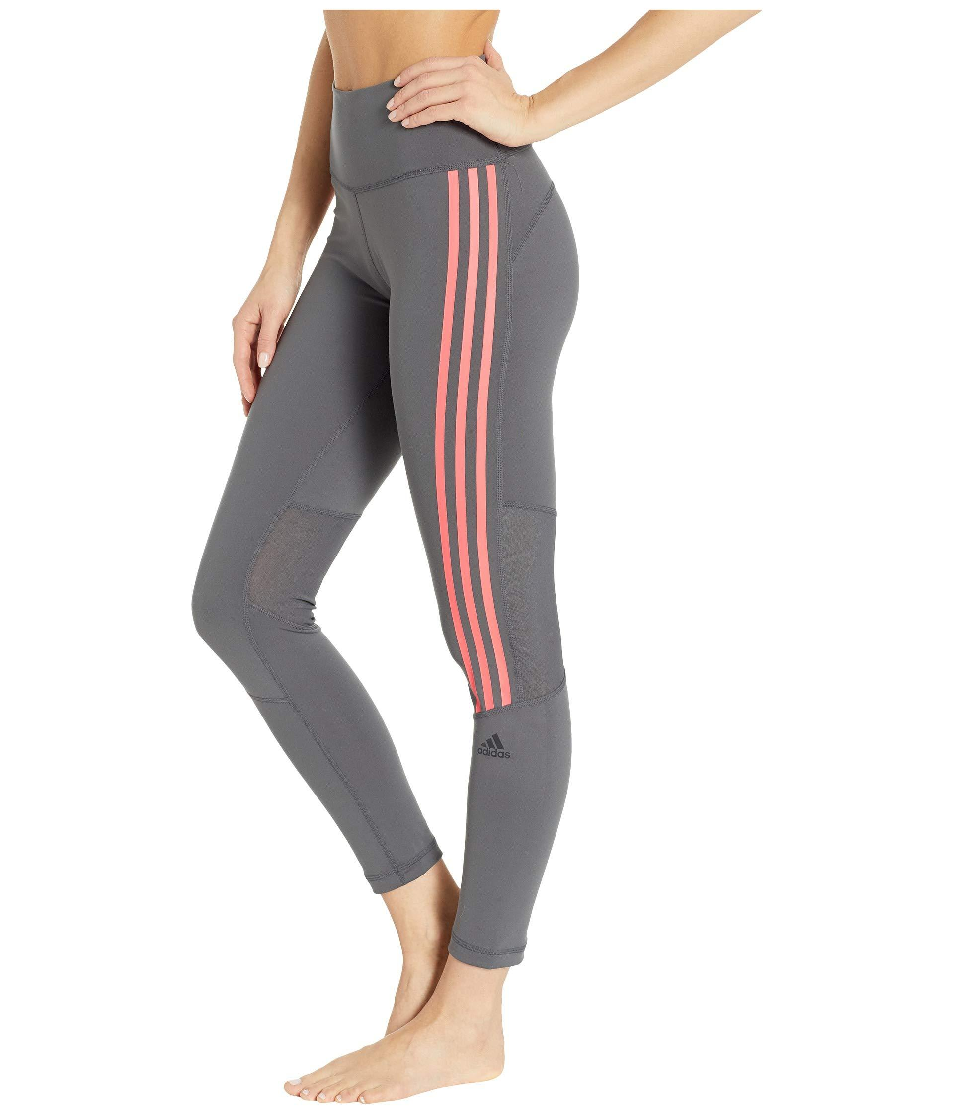 a166dae035ce Lyst - adidas Believe This High-rise 3-stripes 7 8 Tights (black white)  Women s Casual Pants in Gray