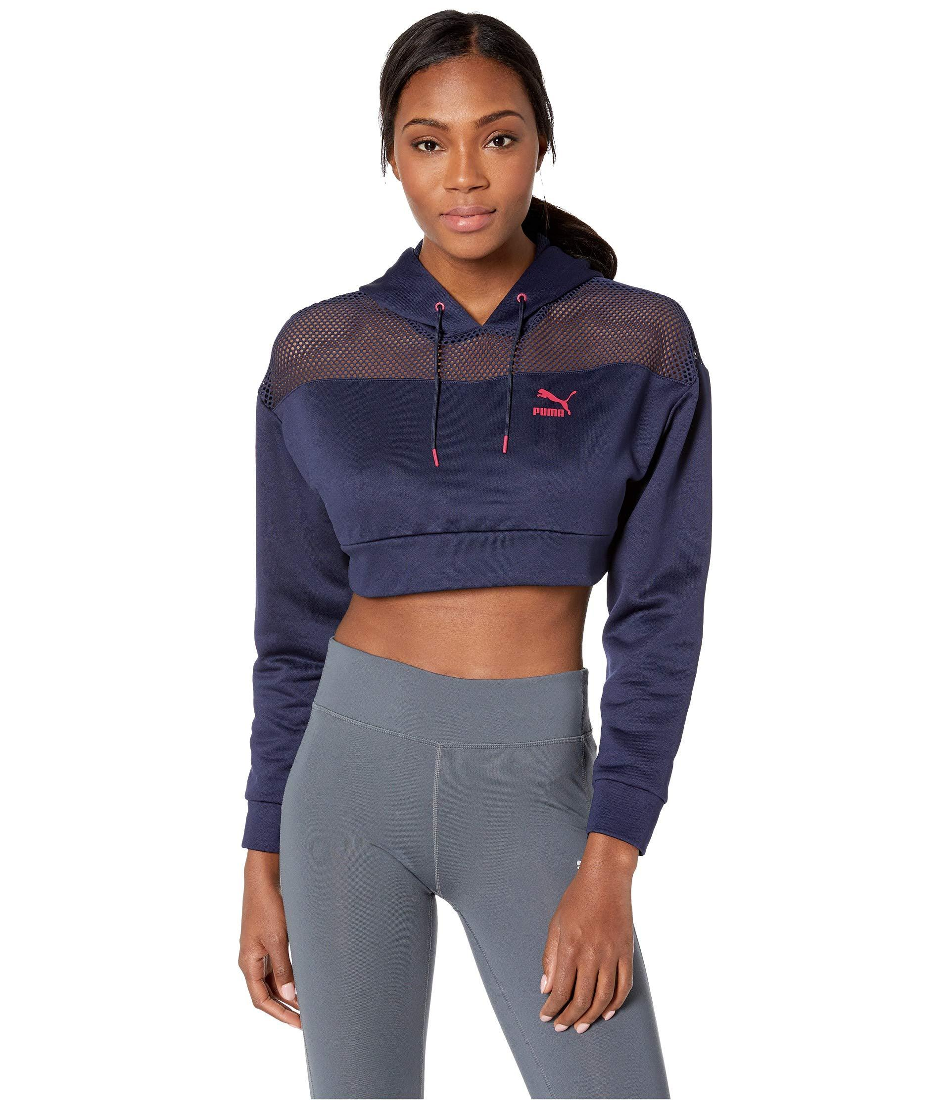 d02e39dbf3fe5 Lyst - PUMA Flourish Touch Of Life Cropped Hoodie (peacoat cerise ...