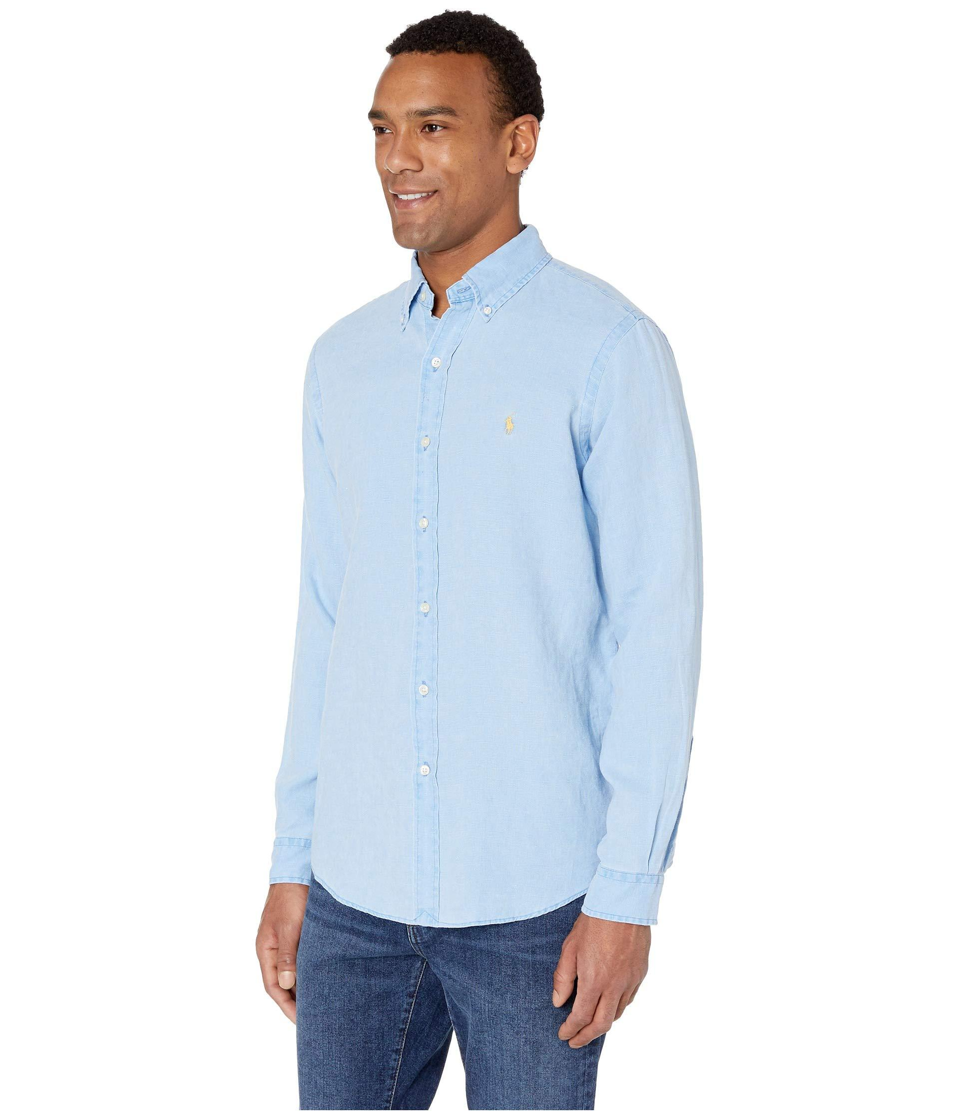 873eb3165603b Lyst - Polo Ralph Lauren Long Sleeve Classic Fit Linen Woven (riviera Blue)  Men s Clothing in Blue for Men