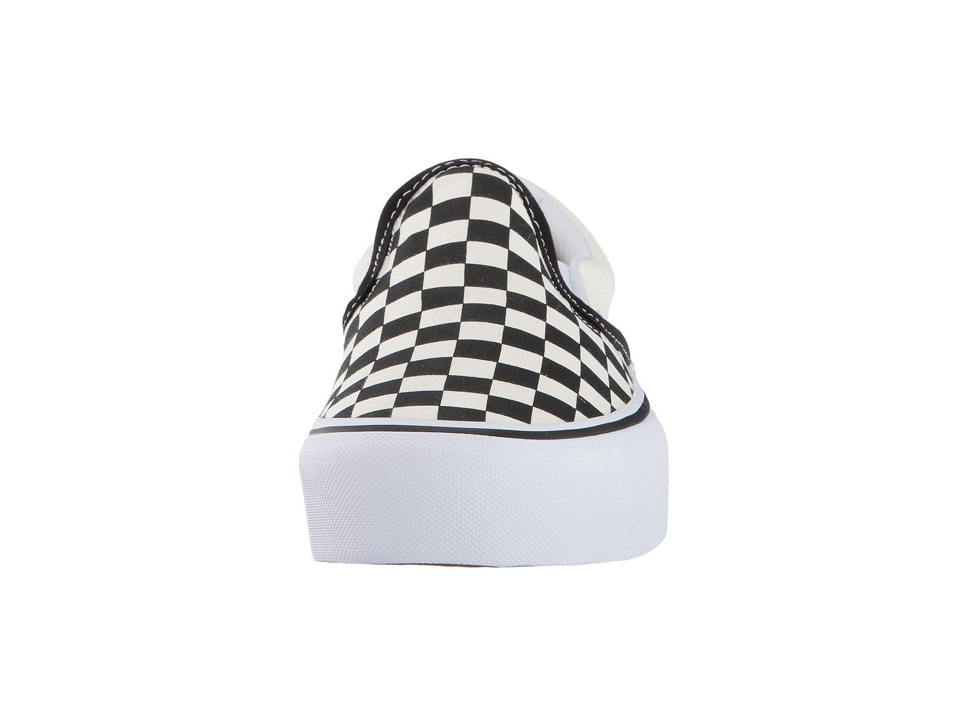 397474bb72f Lyst - Vans Women s Checkerboard Slip-on Platform Sneakers in White ...