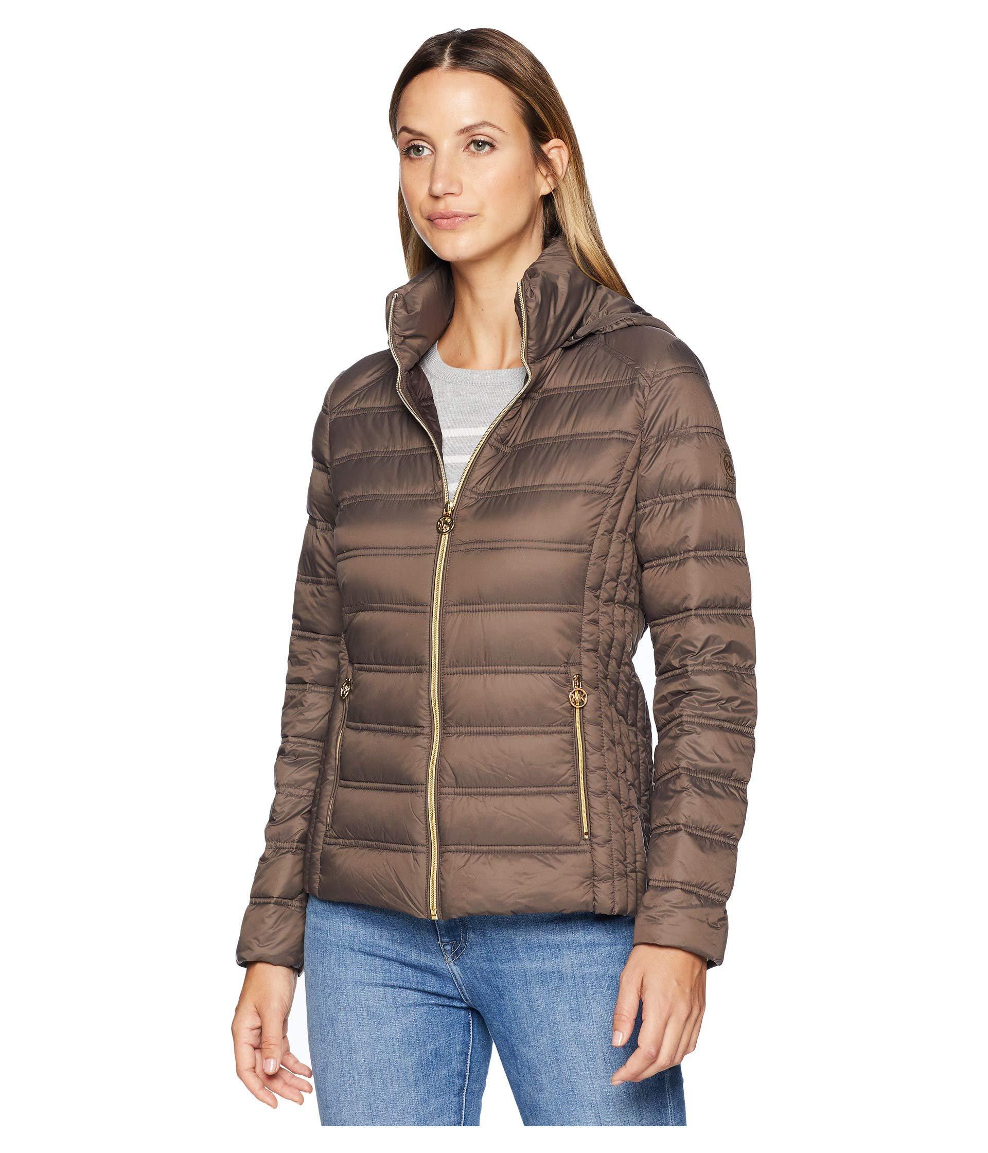 fc200d386021 Lyst - Michael Michael Kors Zip Front Packable With Removable Hood M823157g  (mocha) Women s Coat in Brown