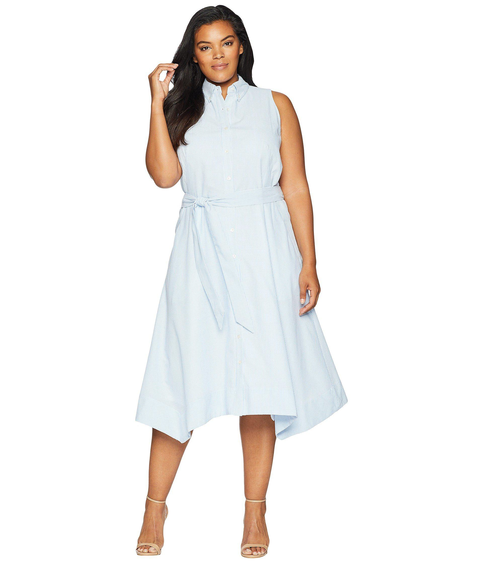 Plus Size Seersucker Shirtdress (blue/white) Women\'s Dress