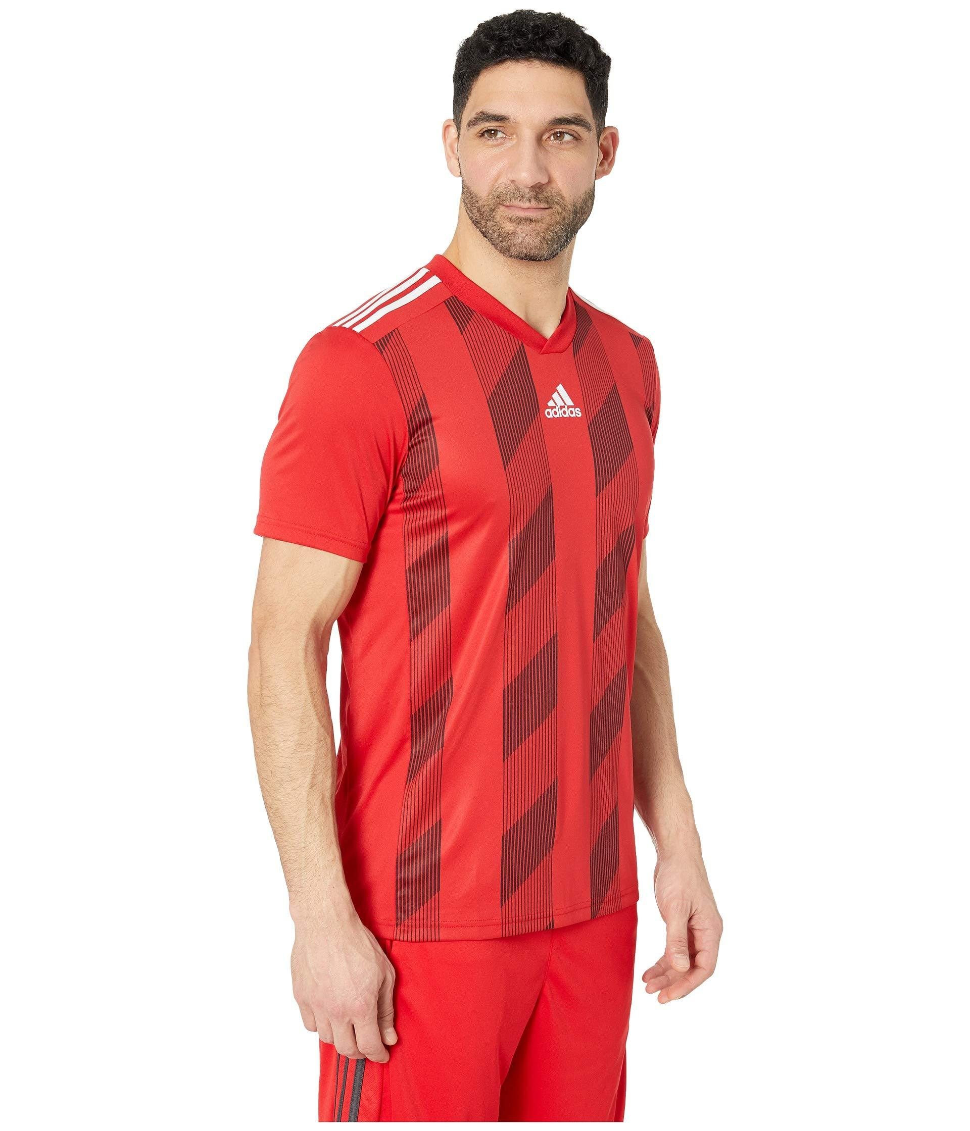 adidas Synthetic Striped 19 Jersey (power Red/white) Men's Workout ...