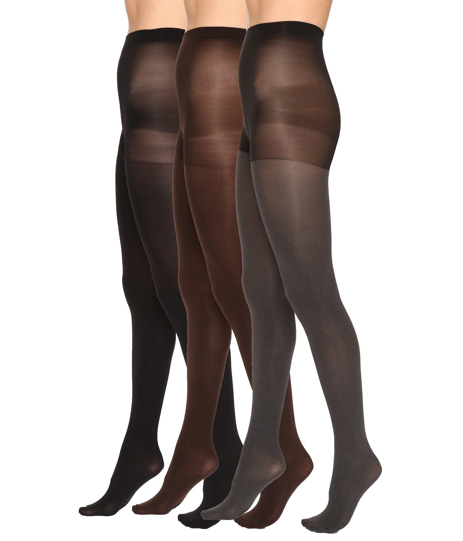 09c303ad2 Lyst - Hue Super Opaque 3 Pair Pack Tights (basic Asst) Hose in Natural