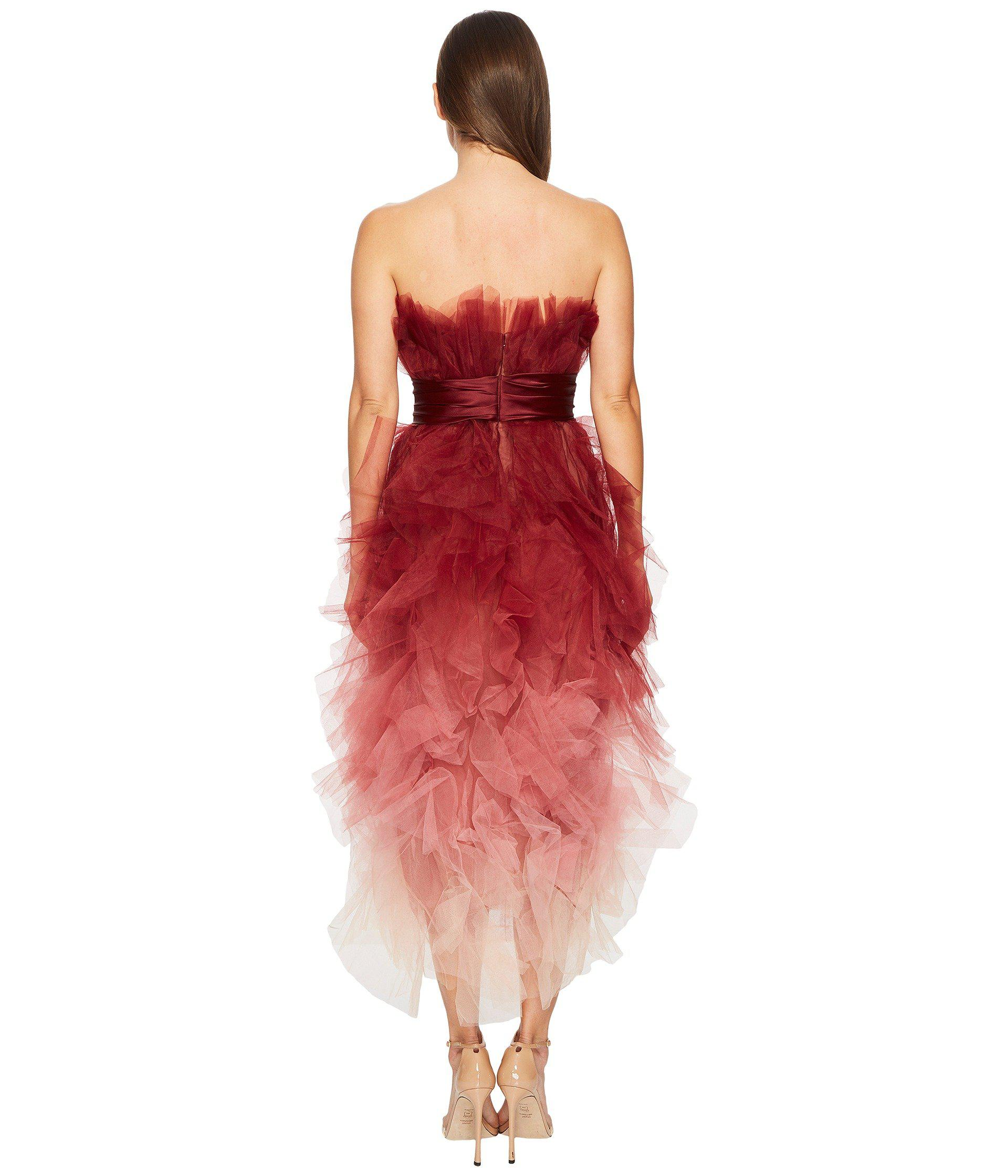 f180ffe67af Marchesa Strapless Cocktail In Ombre Tulle Dress in Red - Lyst